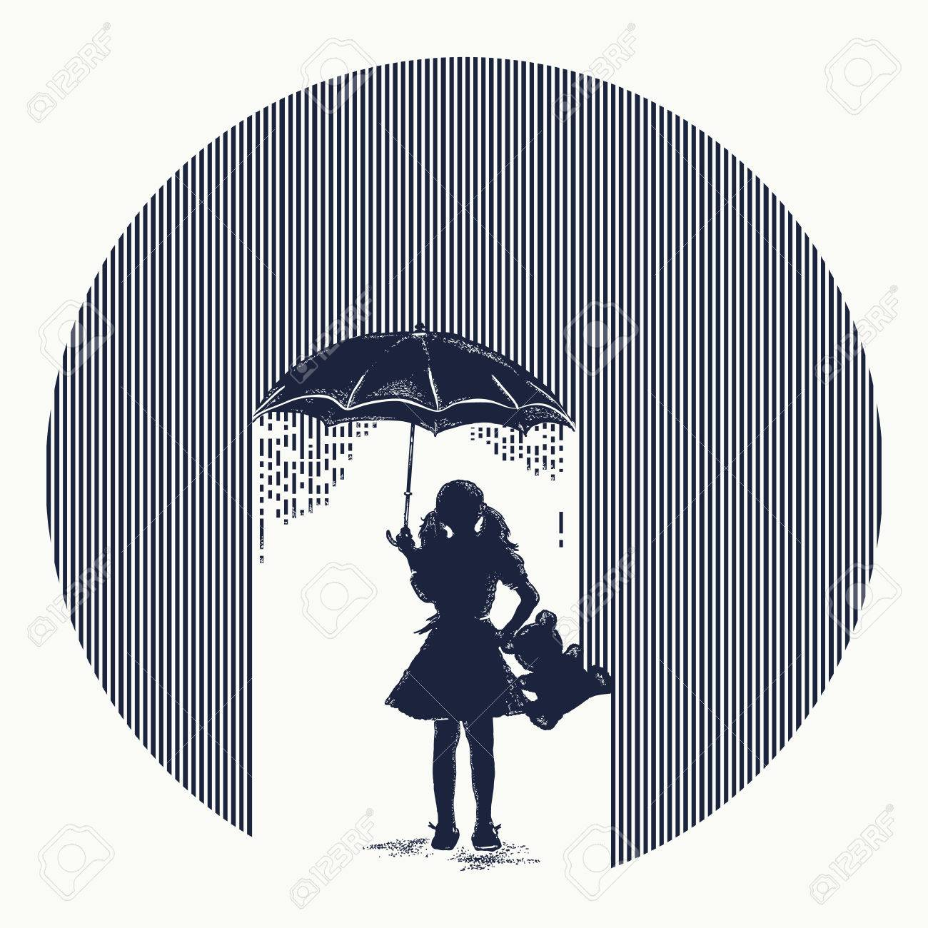 Girl in rain tattoo. Symbol of protection of children, depression. Girl with umbrella costs in rain t-shirt design. Minimalism tattoo. Symbol of psychology, philosophy, protection of children - 83487048