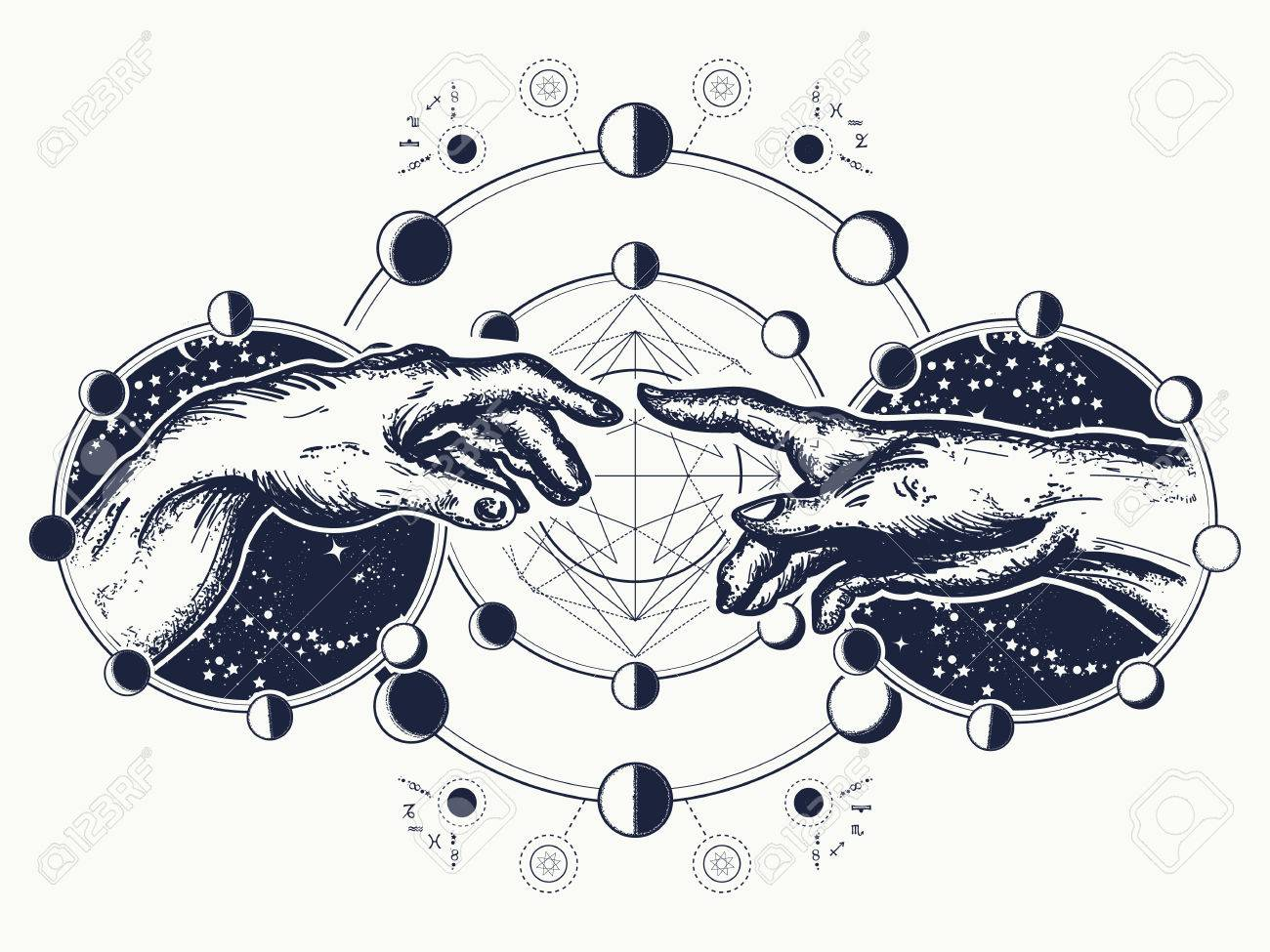 Hands tattoo Renaissance. Bog and Adam, symbol of spirituality, religion, connection and interaction. Michelangelo God's touch. Human hands touching with fingers tattoo and t-shirt design - 83487060