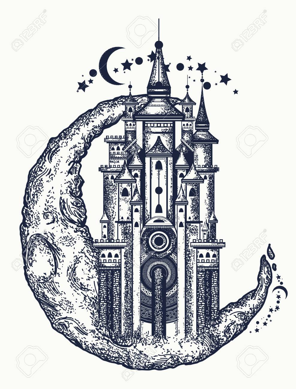 Medieval Building On The Moon Tattoo Symbol Of The Fairy Tale