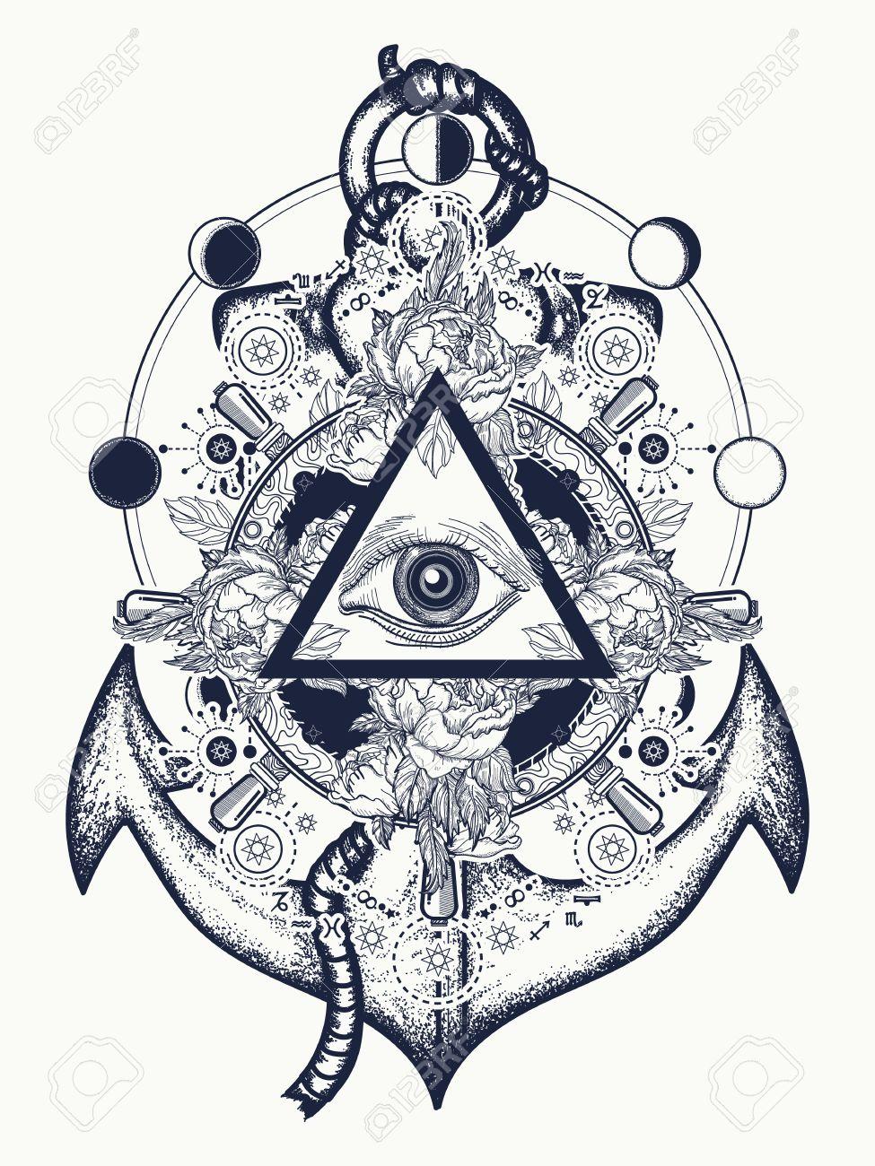 All Seeing Eye Tattoo Art Freemason And Spiritual Symbols Alchemy