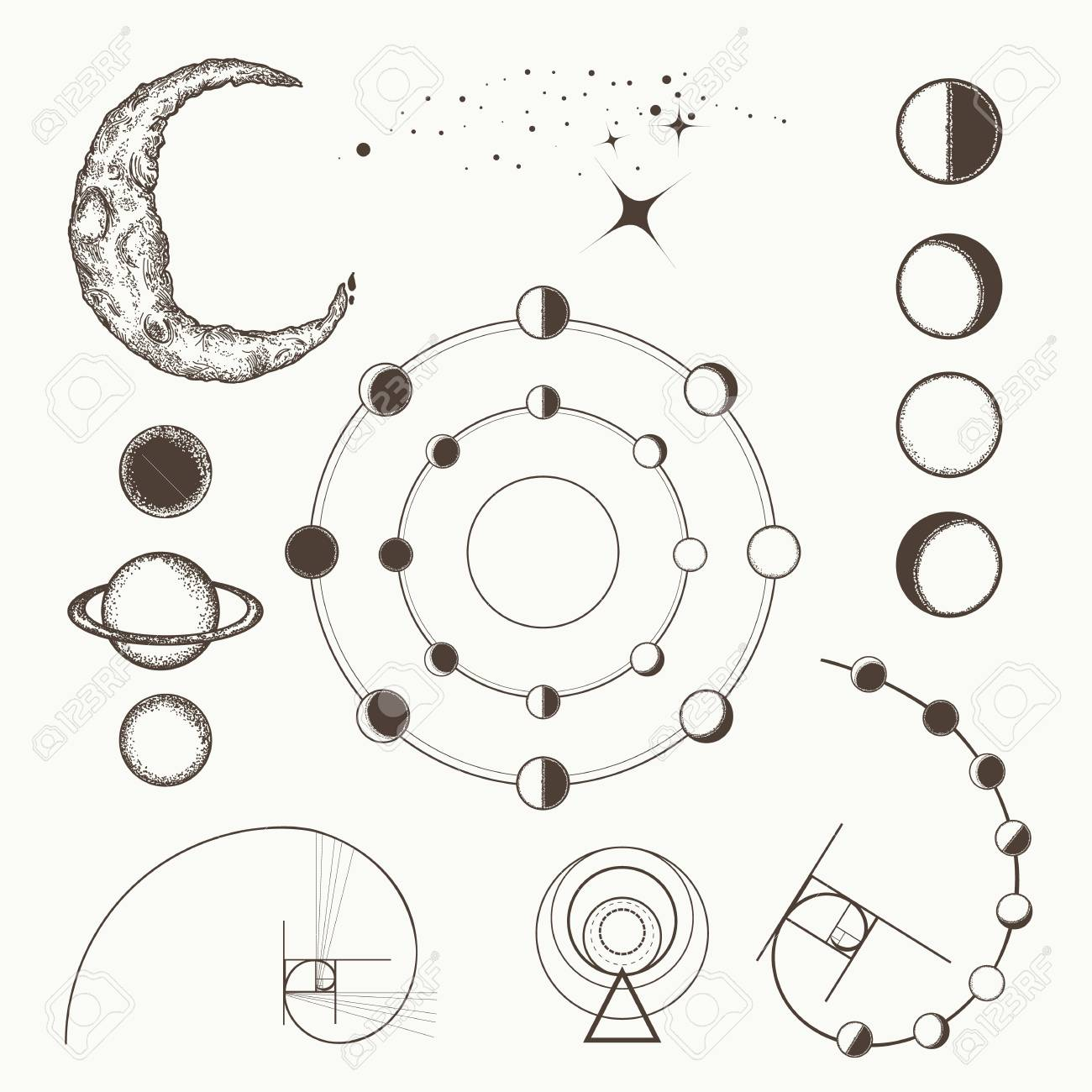 Alchemy Symbols And Signs Of Astrology Lunar Phases Esoteric