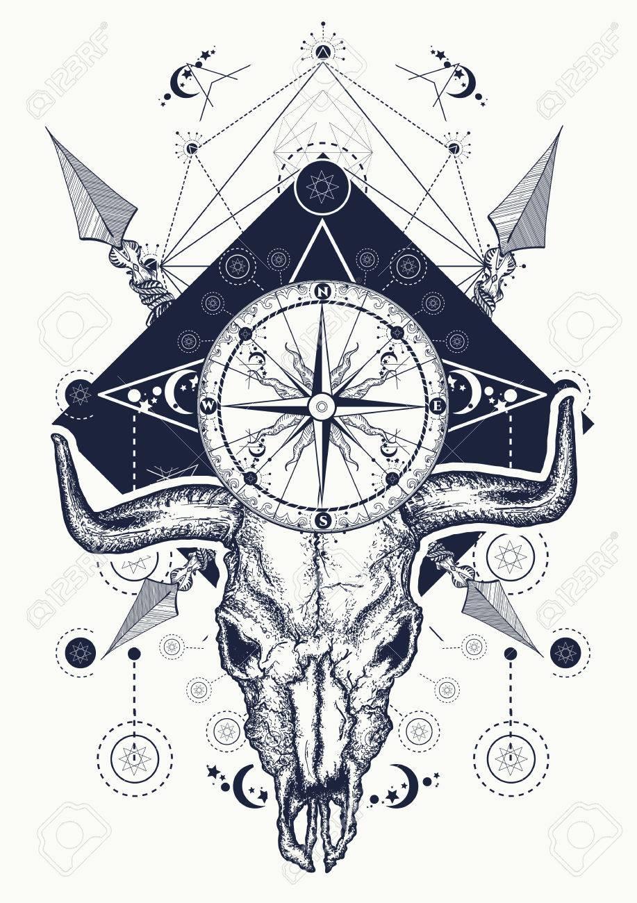 Skull Bull Tattoo And T Shirt Design Wild West Art Bison Skull