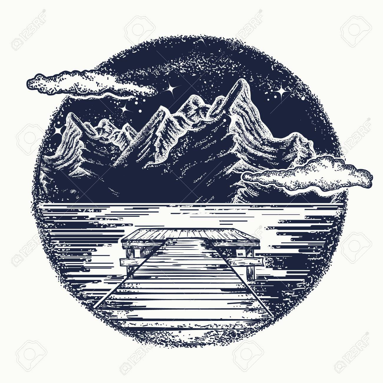 Mountains landscape tattoo and t shirt design mystical symbol mountains landscape tattoo and t shirt design mystical symbol of tourism dream biocorpaavc Images