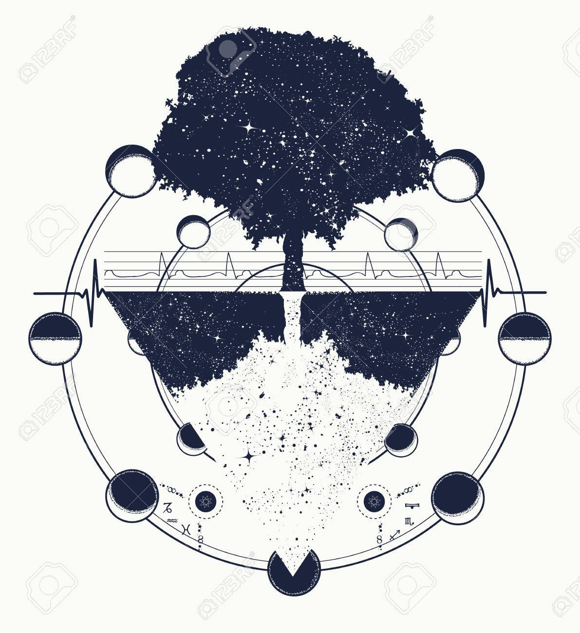 Arbre De Vie Tatouage Art Style Géométrique Symbole Tribal Mystique Le Futur Et Le Passé Symbole De La Vie Et De La Mort Le Style Bohème De