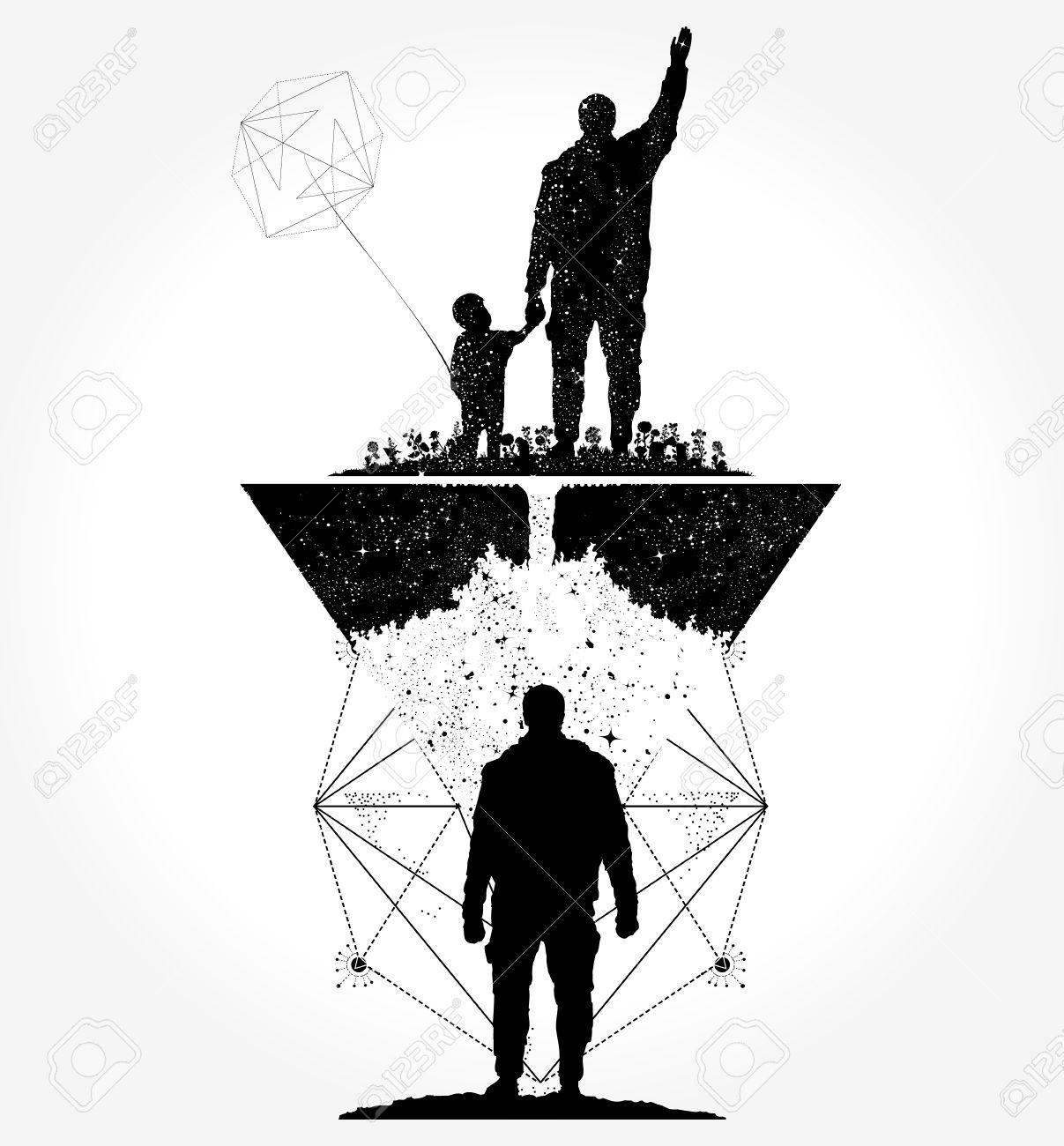 Tatuaje Del Padre Y Del Hijo Y Diseño De La Camiseta Ilustraciones