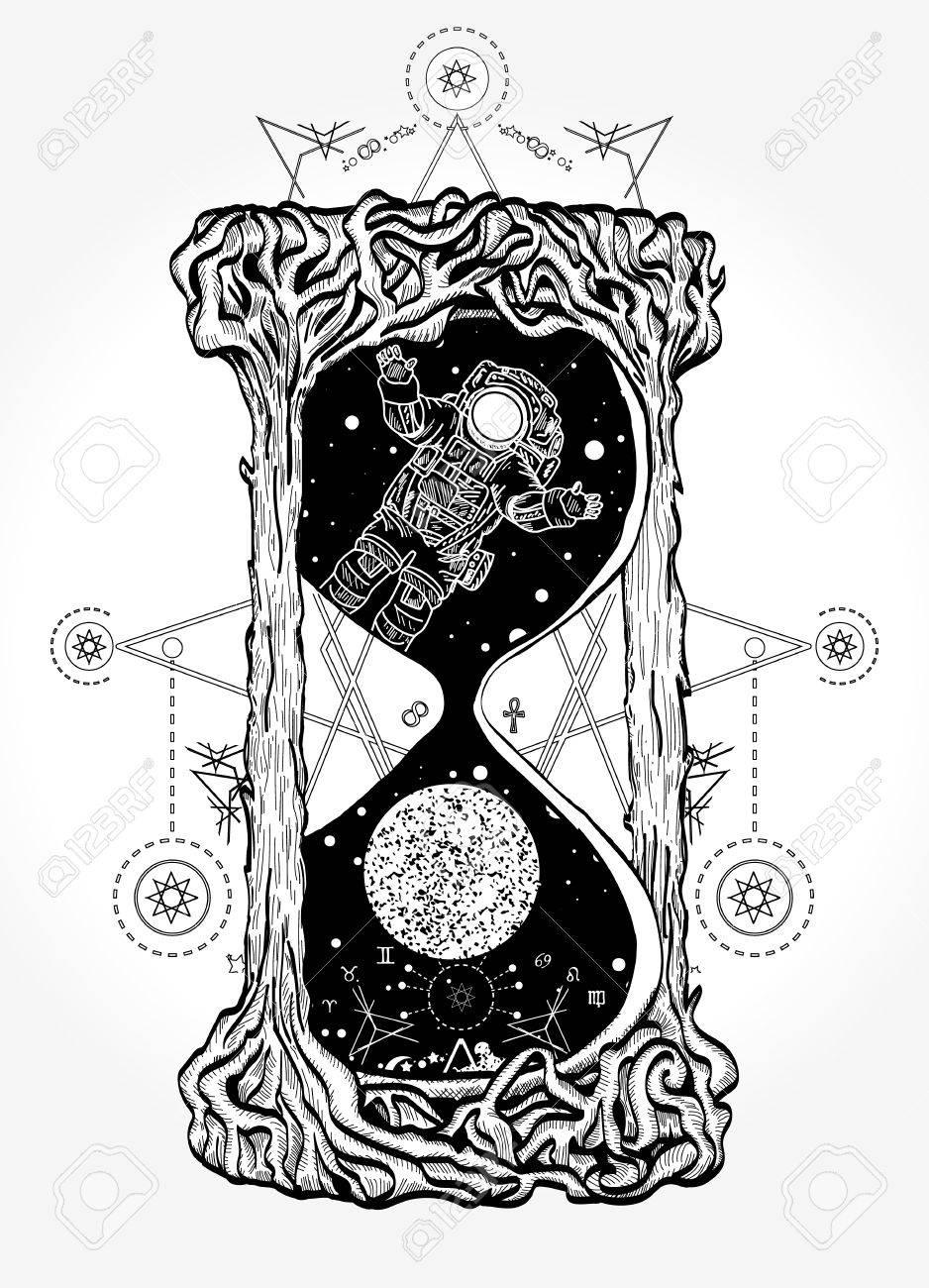 Reloj De Arena Símbolos Místicos Vida Y Muerte Tatuaje Ilustraciones
