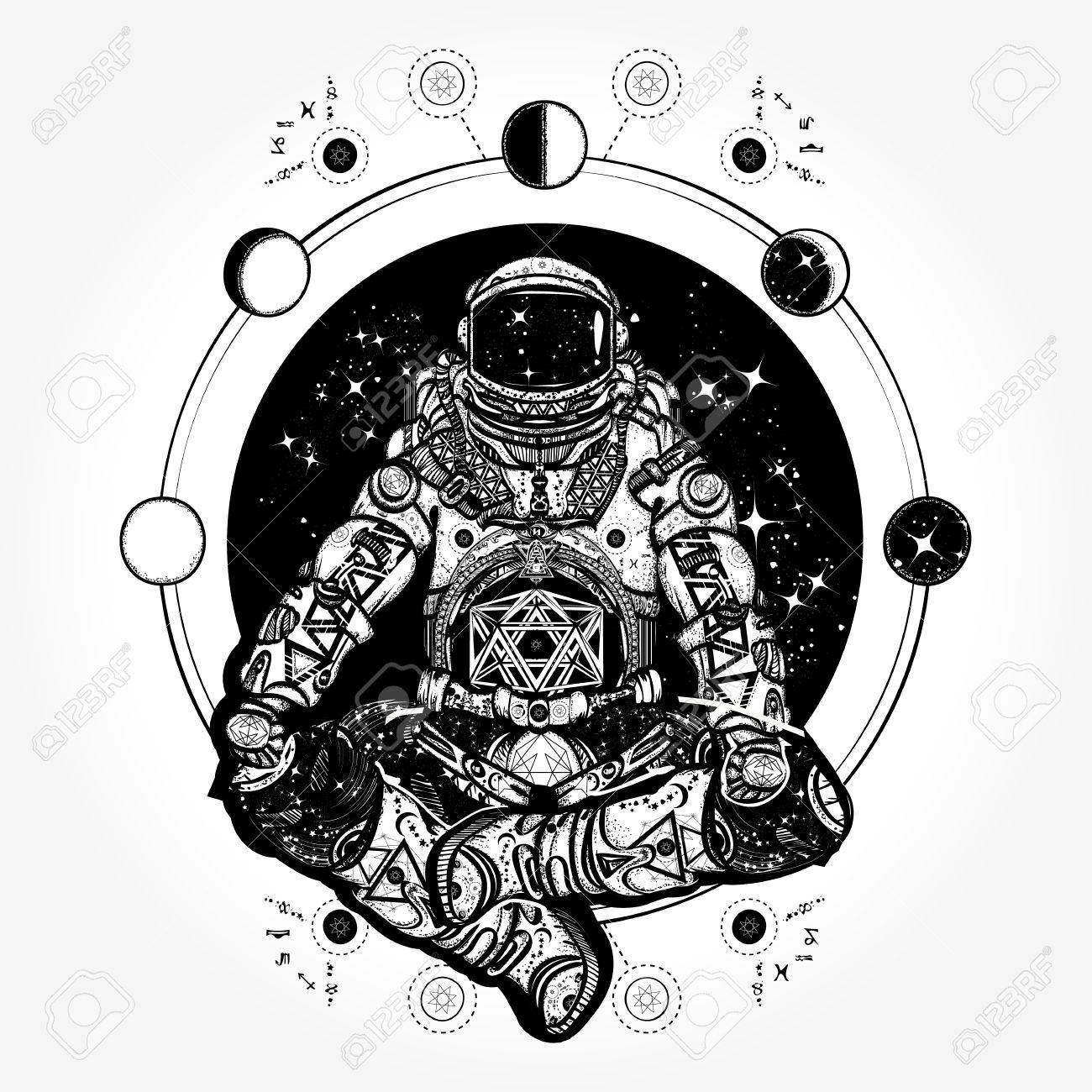 Spaceman Silhouette Sitting In Lotus Pose Of Yoga Tattoo Royalty