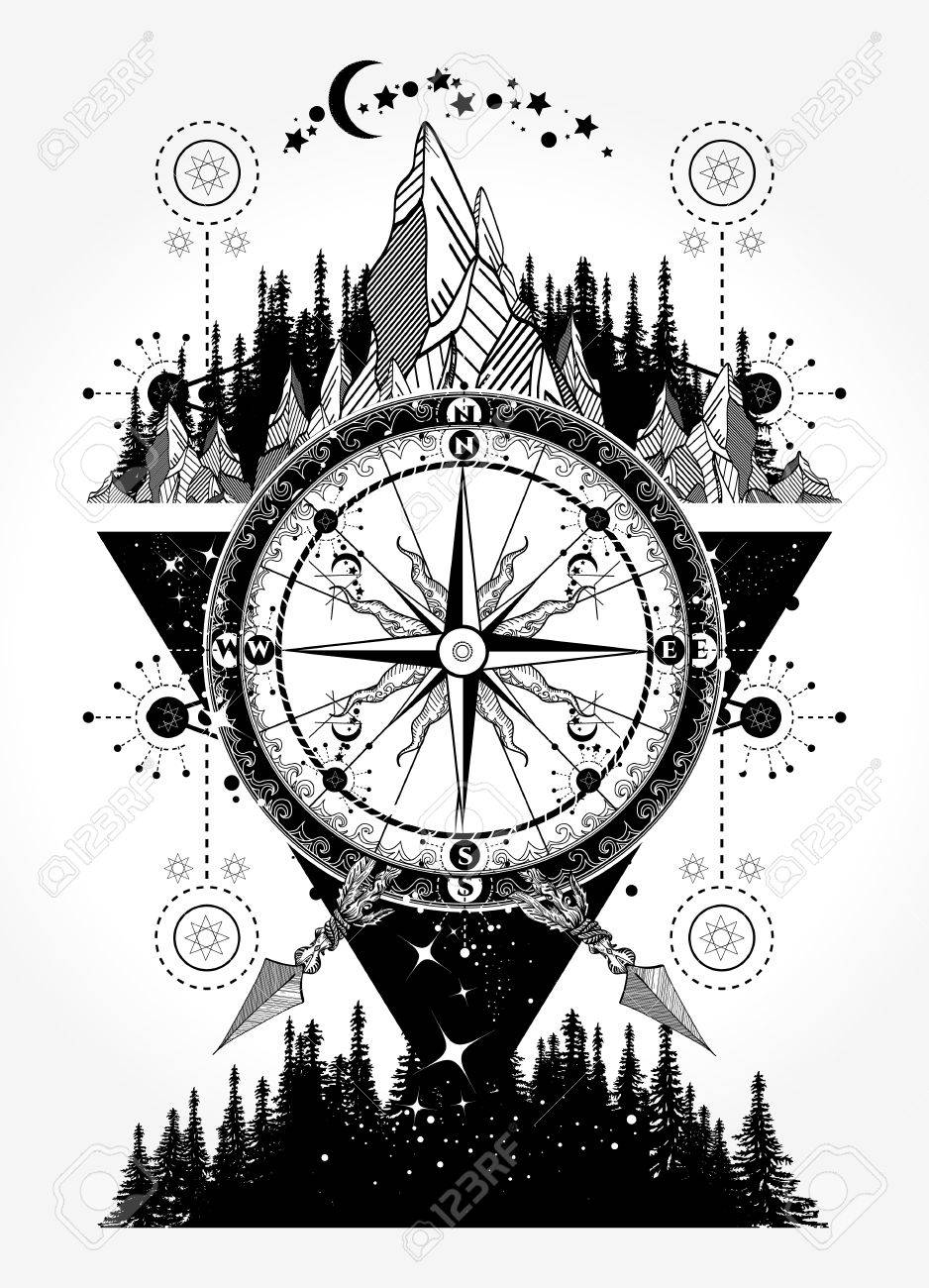 Mountains And Antique Compass Tattoo Art Royalty Free Cliparts Vectors And Stock Illustration Image 84742368 Watercolor tattoos incorporate vibrant color, brush strokes, ink drips and dynamic art feed into each of the designs creating body art, not just a tattoo. mountains and antique compass tattoo art