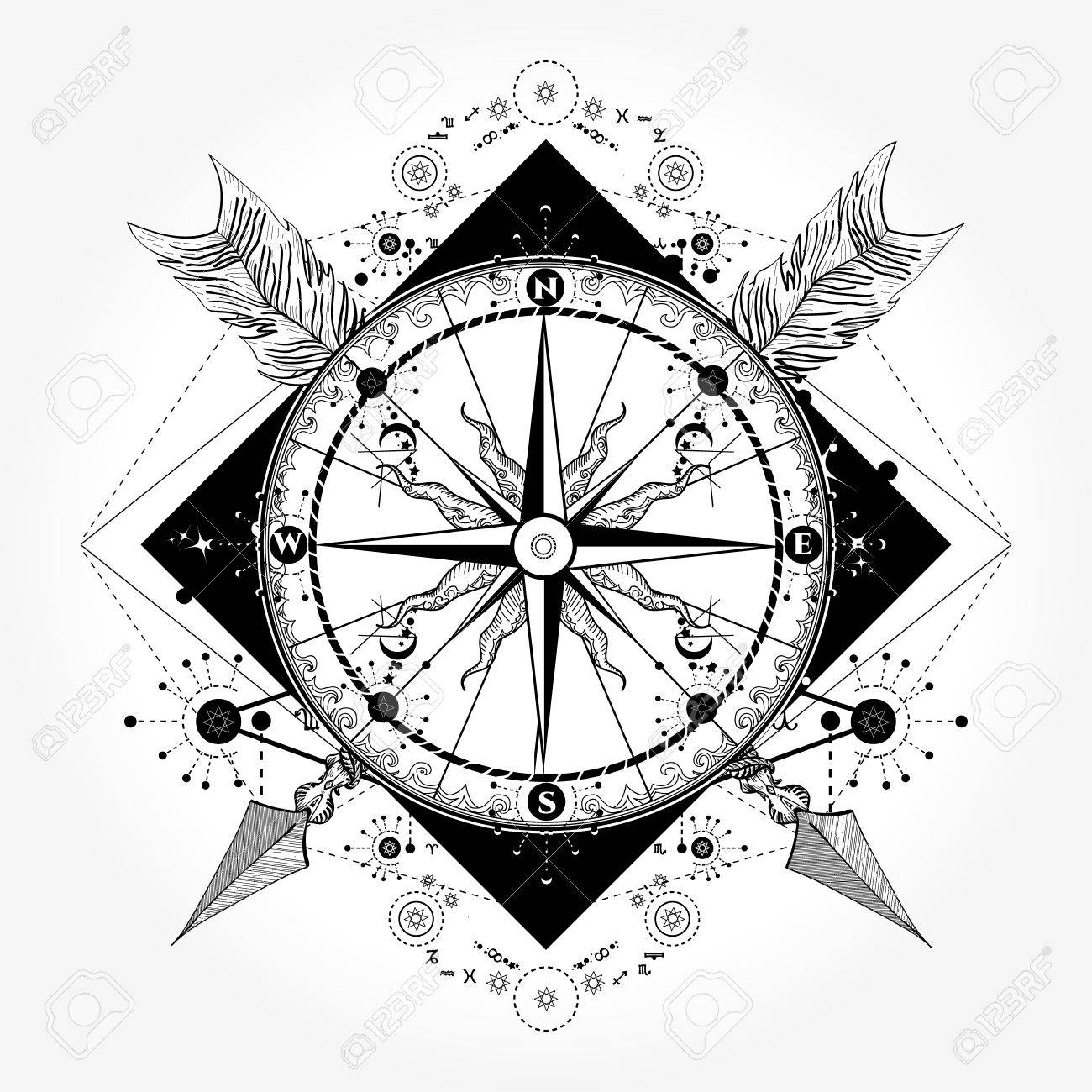 Compass Tattoo And T-shirt Design. Compass And Crossed Arrows ...