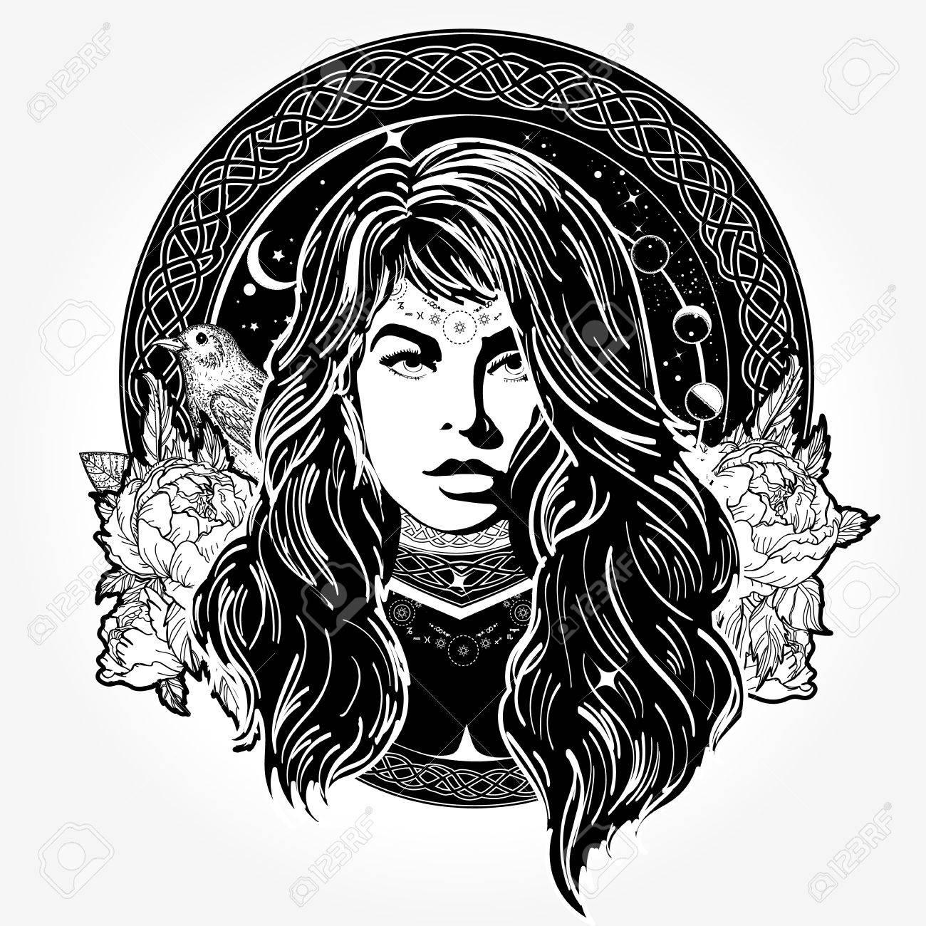 Magic woman tattoo and t-shirt design - 84742420