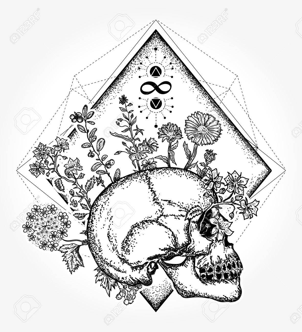 Magic skull tattoo and t-shirt design  Human skull through which