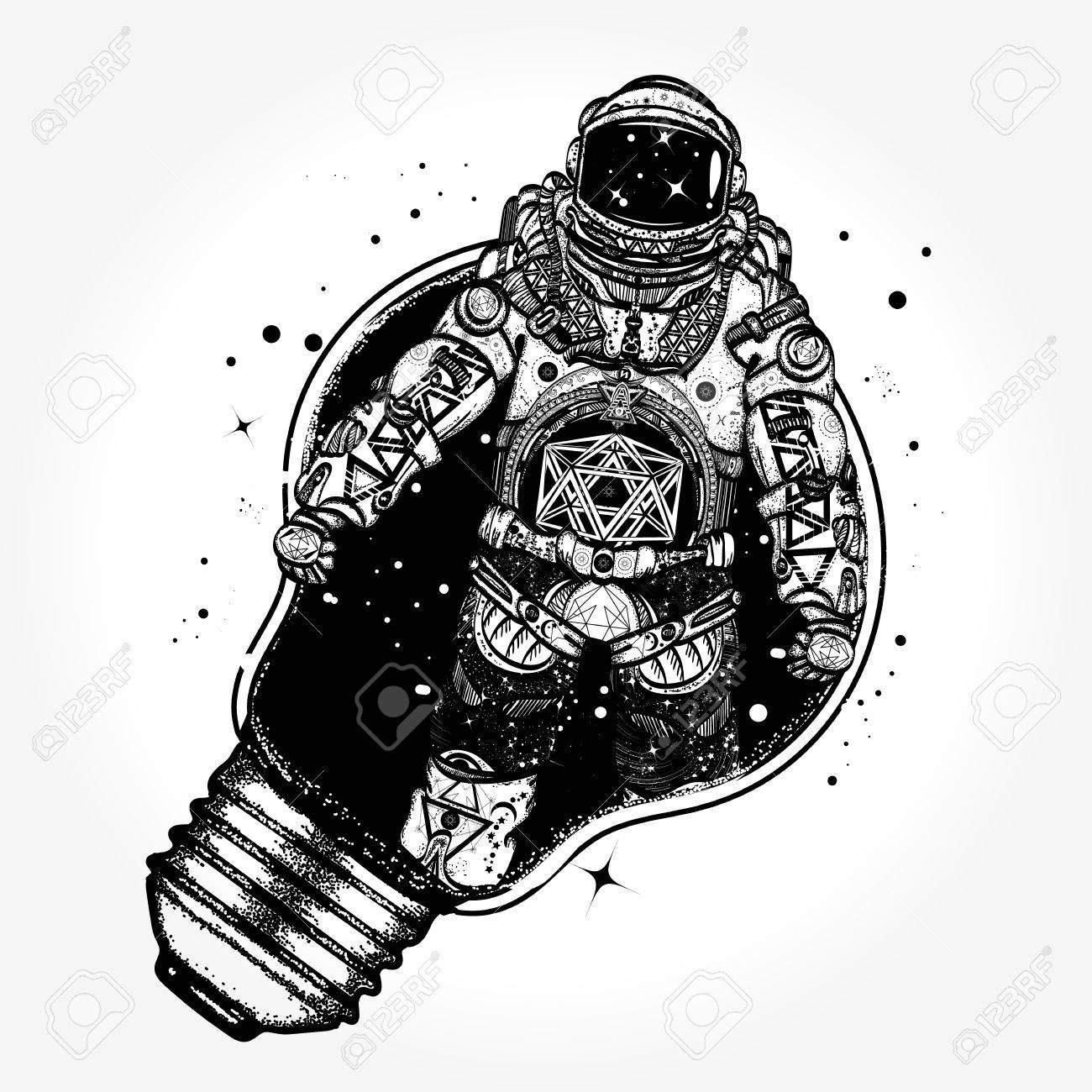 Astronaut in a light bulb tattoo art astronaut surreal graphics astronaut in a light bulb tattoo art astronaut surreal graphics t shirt design biocorpaavc