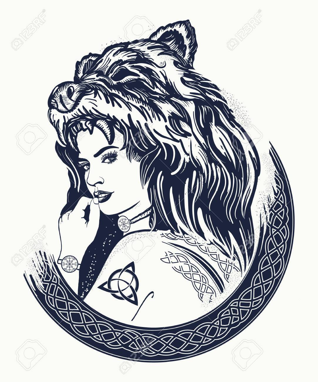 Tatouage Femme Guerriere Femme Forte Tribale Dans Une Peau D Ours Symbole De La Scandinavie Valhhala Valkyrie Fille Du Nord Conception De T Shirt Chasseur De Femme Clip Art Libres De Droits Vecteurs