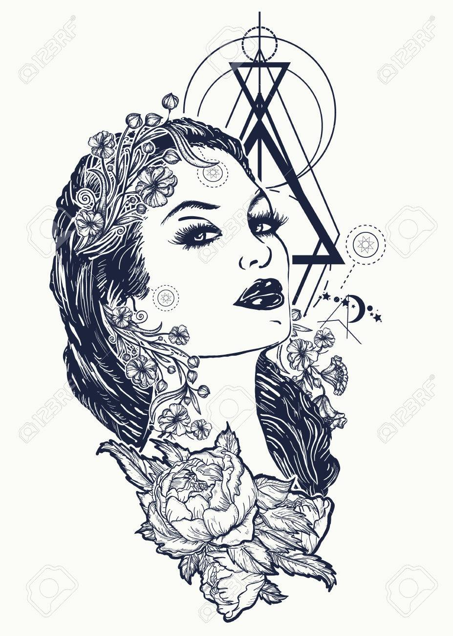 Art nouveau woman tattoo and t-shirt design. Symbol of a retro, queen, princess, lady, elegance, glamour, renaissance. Beautiful glamourous vintage art nouveau woman tattoo. Noir woman - 86176580
