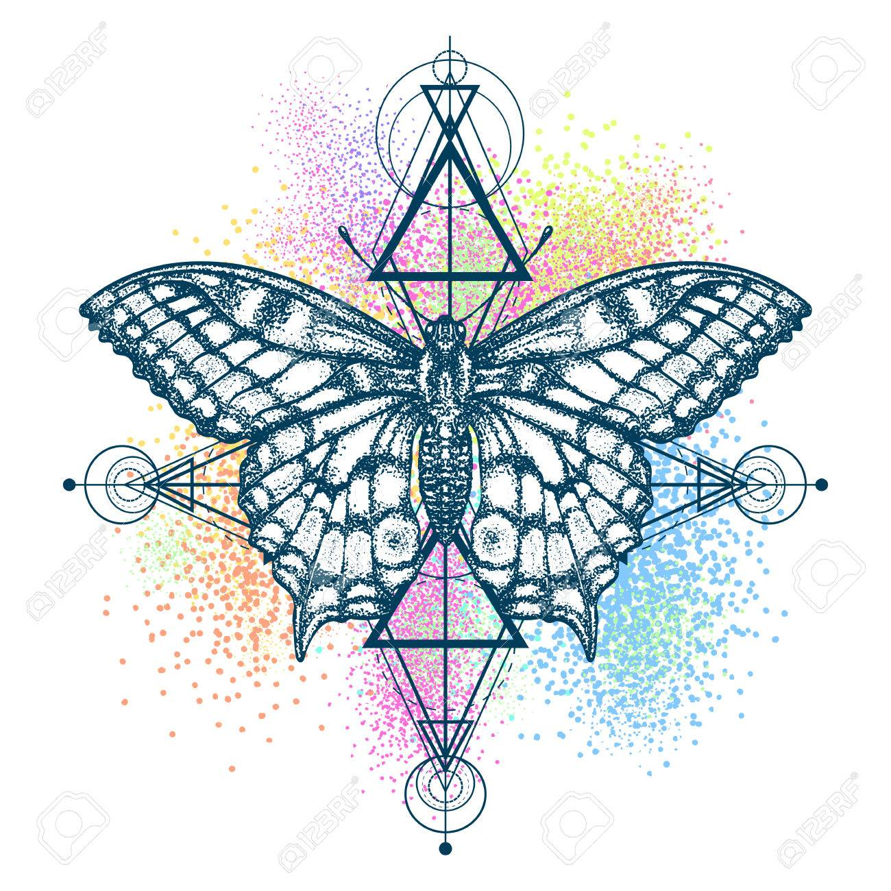 ca78ff78a4c6f Magic butterfly color tattoo, geometrical style. Beautiful Swallowtail boho  t-shirt design.