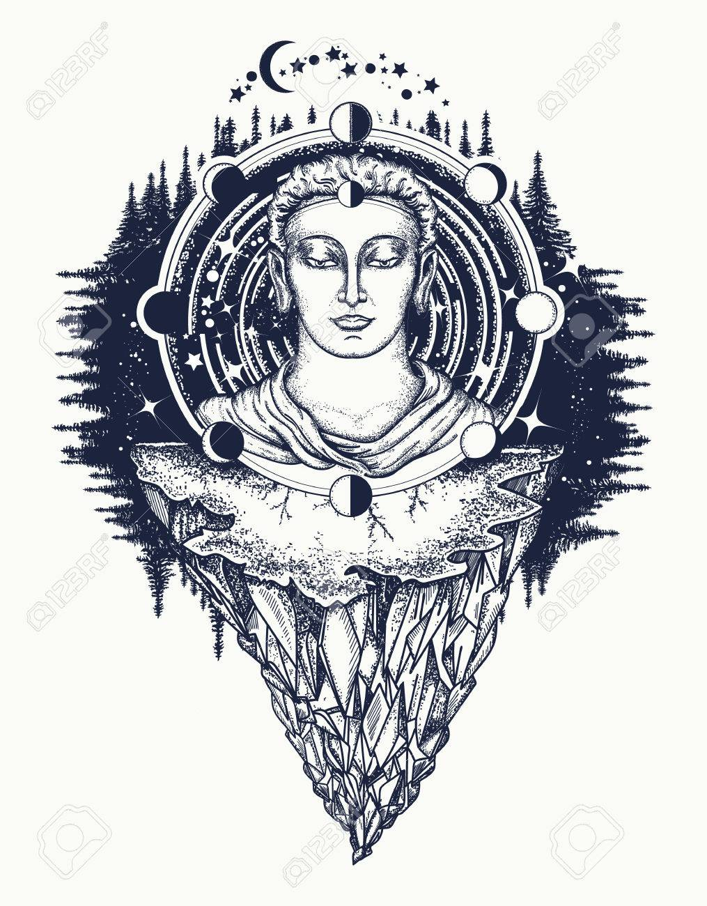 Buddha in deep space t shirt design symbol of immortality buddha in deep space t shirt design symbol of immortality enlightenment religion buycottarizona Image collections