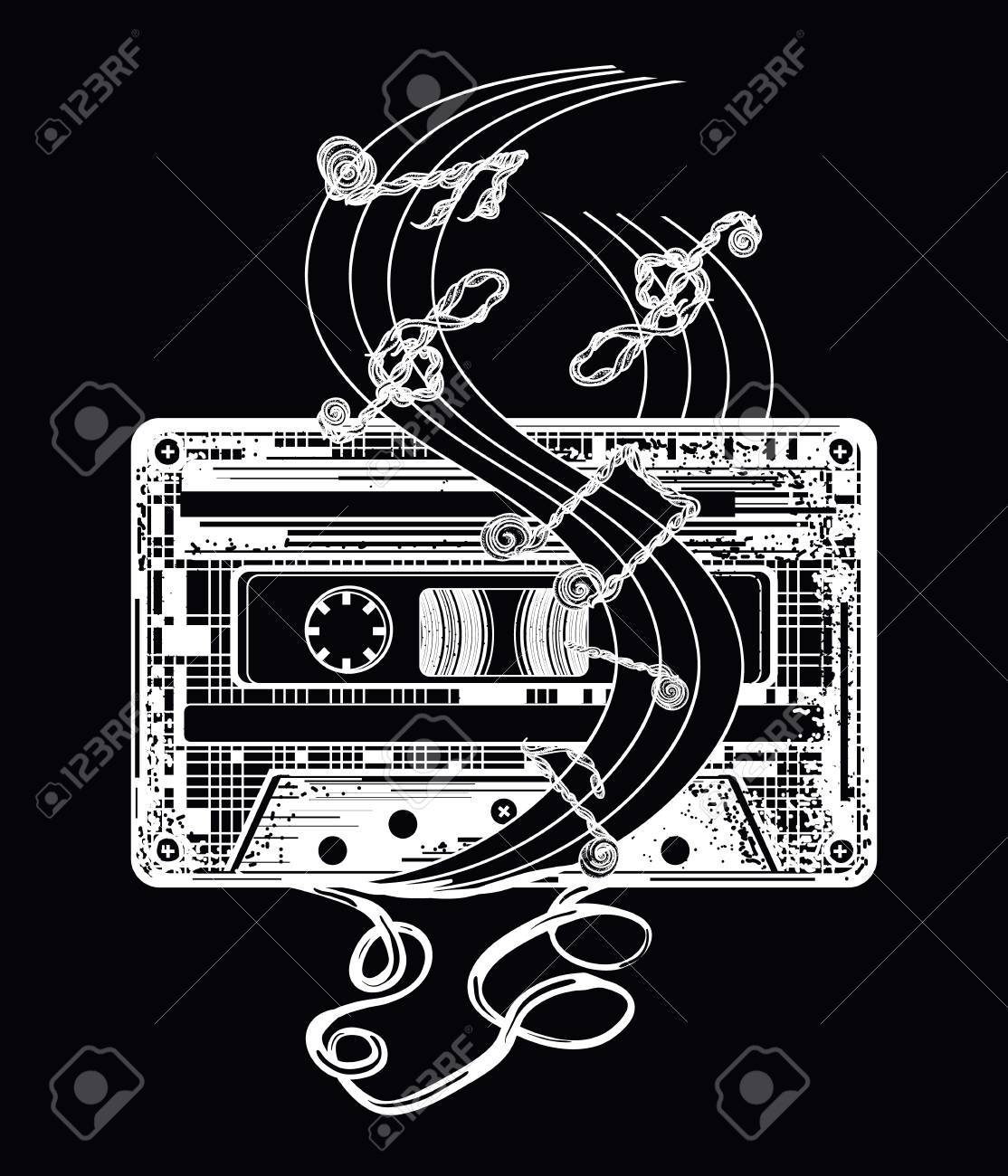 Audio cassette and music notes tattoo and t shirt design symbol audio cassette and music notes tattoo and t shirt design symbol of retro music biocorpaavc Image collections
