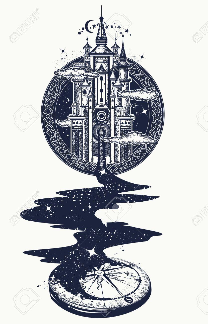 Art De Tatouage Chateau Magique Riviere Des Etoiles Symbole De La Psychologie Tourisme Voyage Motivation Du Concept Surrealiste Magie