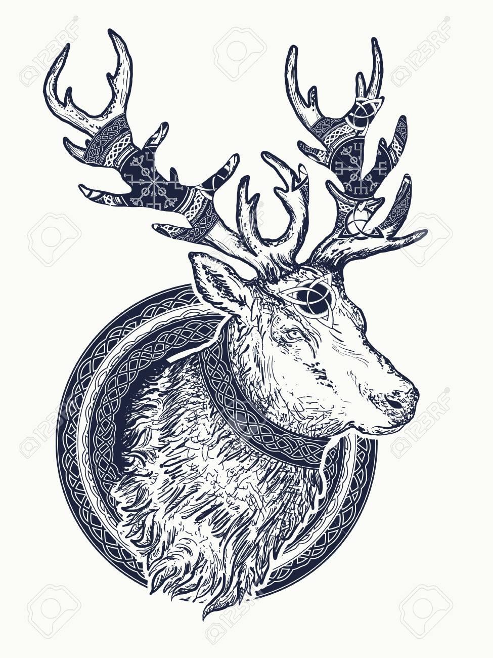Deer Tattoo And T Shirt Design