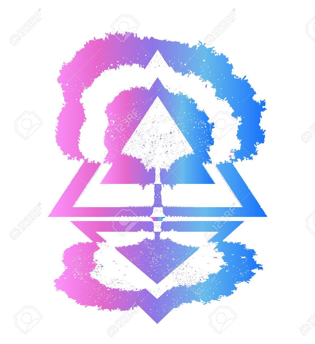 Magic tree tattoo and t-shirt design  Symbols of psychology,