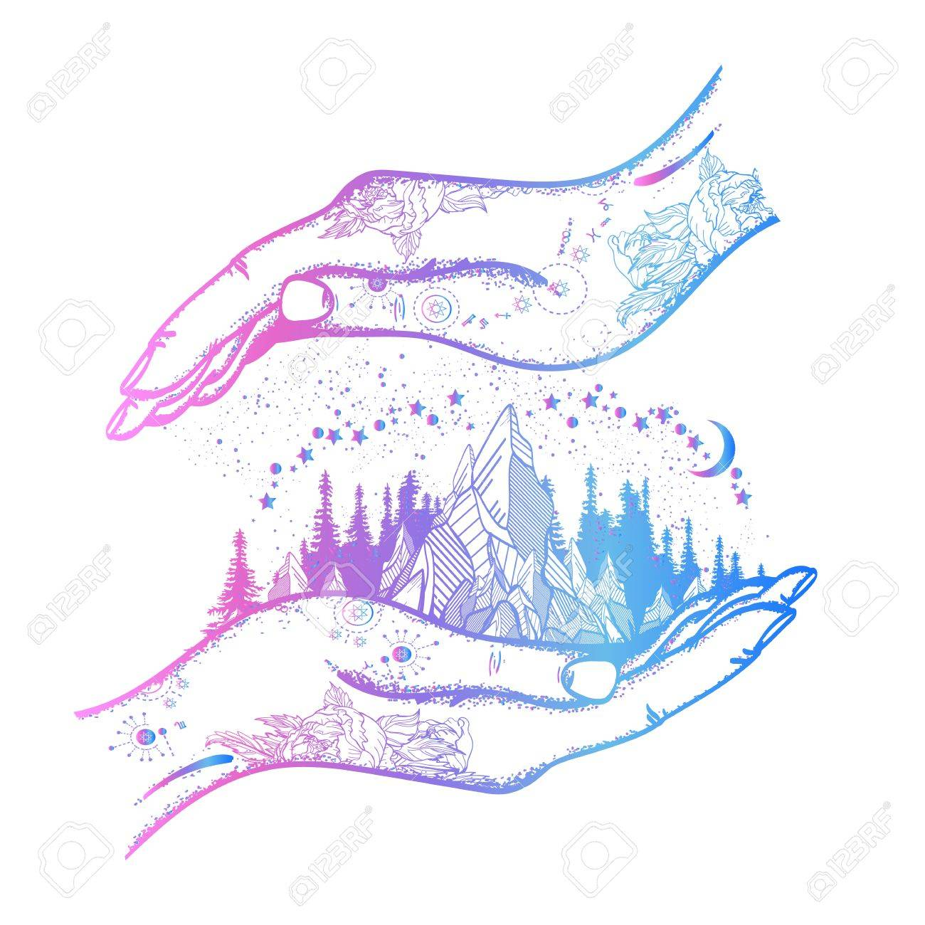 Hand and mountains tattoo and t shirt designmbol of travel hand and mountains tattoo and t shirt designmbol of travel tourism biocorpaavc Images
