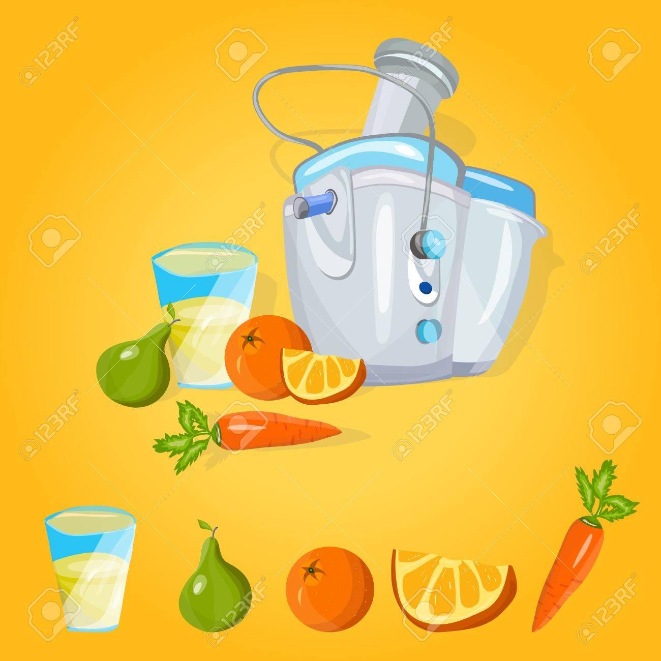 Vector extractor de jugo Máquina exprimidora Proceso de preparación de jugo fresco en exprimidor