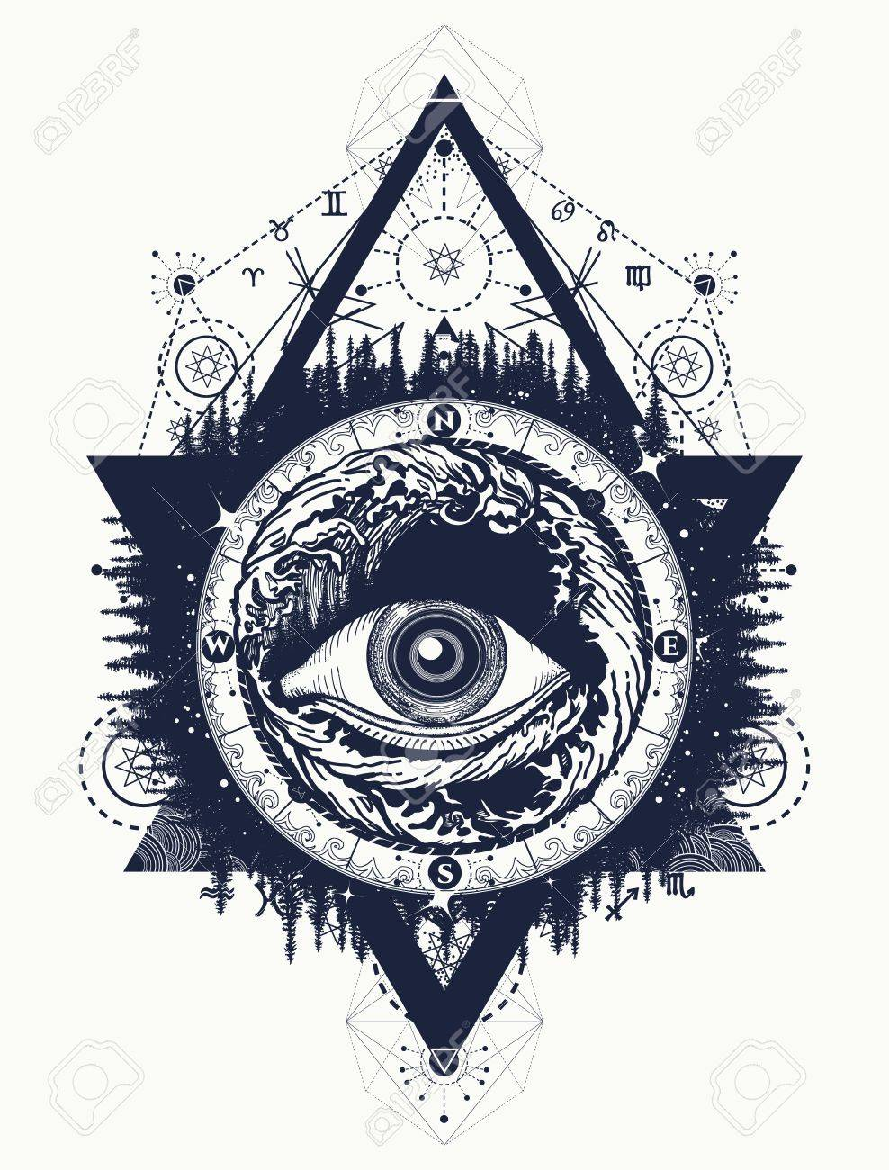 All Seeing Eye Tattoo Tourism In A Mystical Style Vector Eye