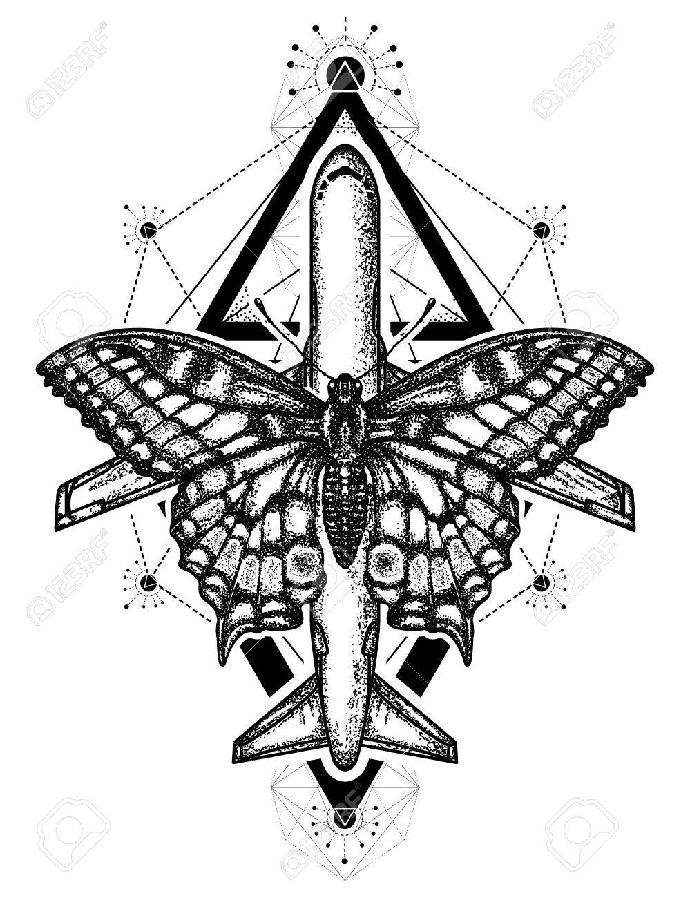 Butterfly And Air Plane Tattoo And T Shirt Design Symbol Of