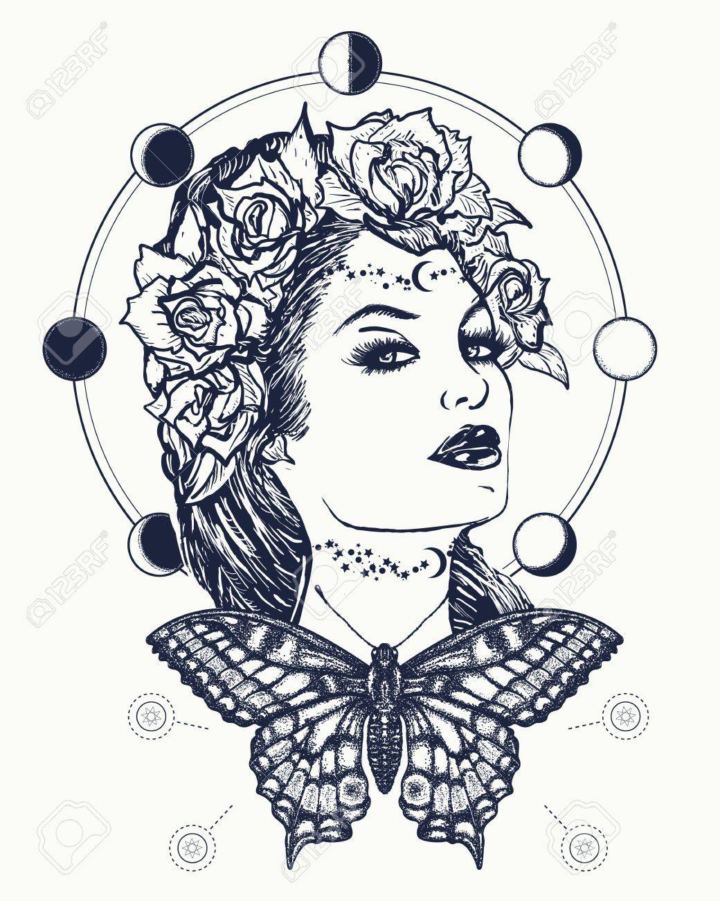 Magic Woman And Butterfly Tattoo And T Shirt Design Art Nouveau