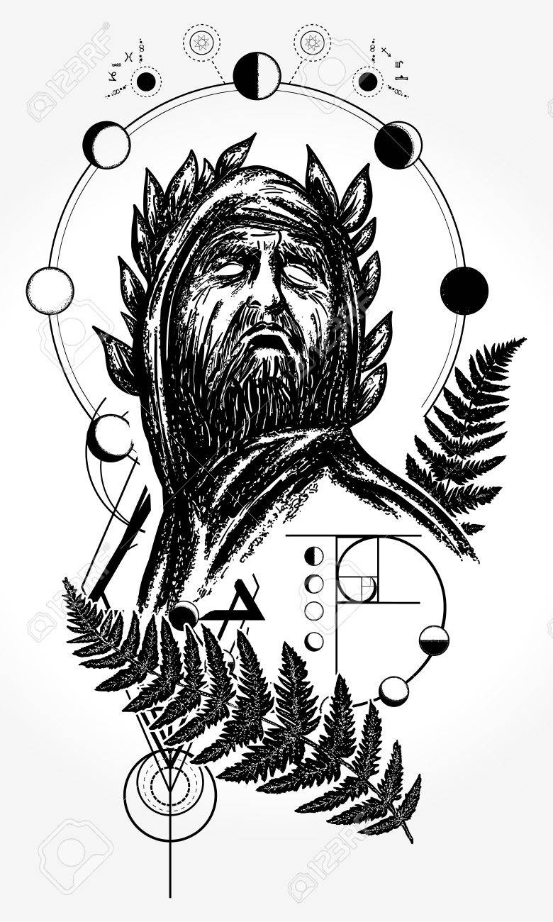 Scientist tattoo and t-shirt design  God of knowledge tattoo