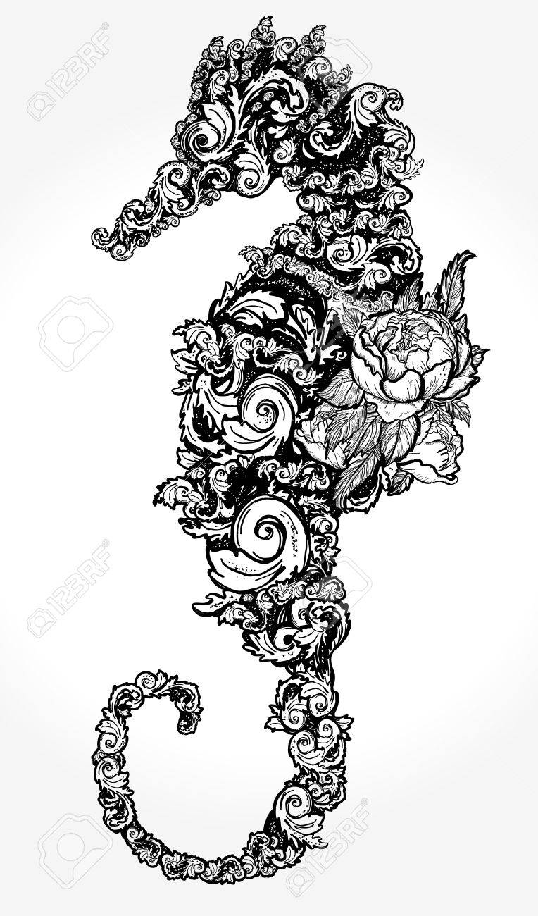 Sea Horse Tattoo And T Shirt Design Seahorse Of Flowers Isolated Royalty Free Cliparts Vectors And Stock Illustration Image 87711823