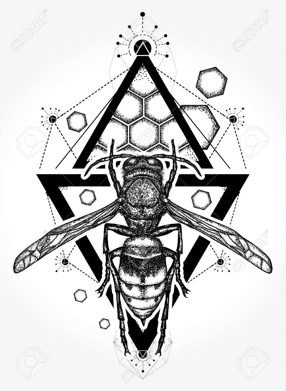 Bee Tattoo And T Shirt Design Symbol Of Freedom Flight Wasp