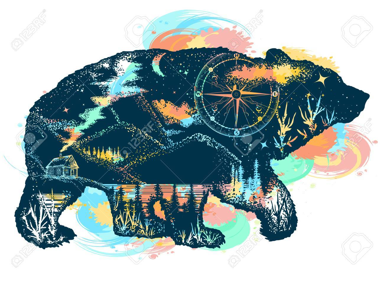 Magic bear double exposure color tattoo art. Mountains, compass. Bear grizzly silhouette t-shirt design. Tourism symbol, adventure, great outdoor - 89056694