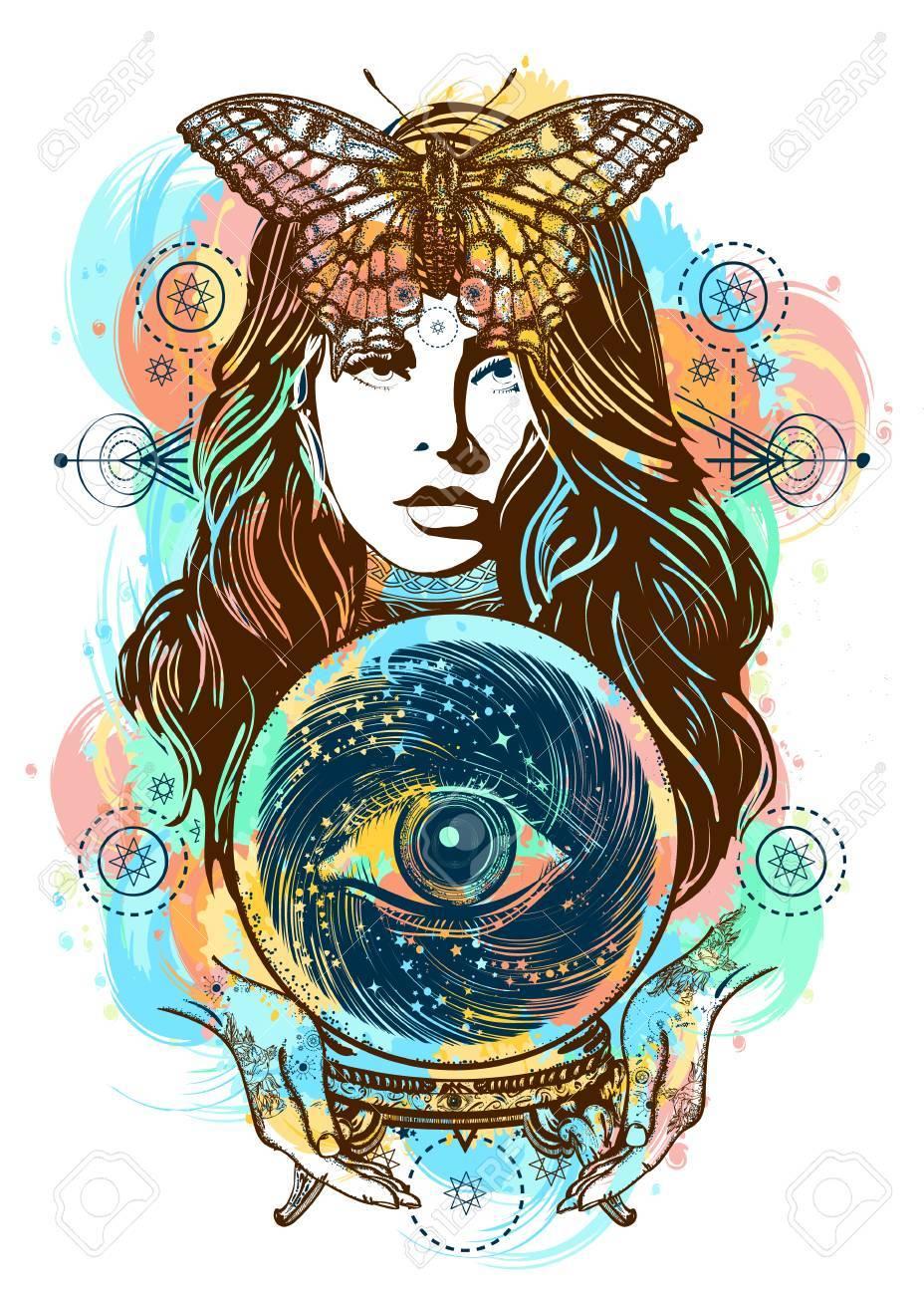 Hermosa Bruja Mujer Color Tatuaje Y Camiseta De Diseño. Arte De La ...