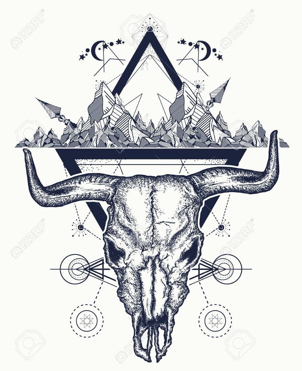 Bull skull and mountains tattoo native american bull skull symbol bull skull and mountains tattoo native american bull skull symbol of secret knowledge shamanism buycottarizona Images
