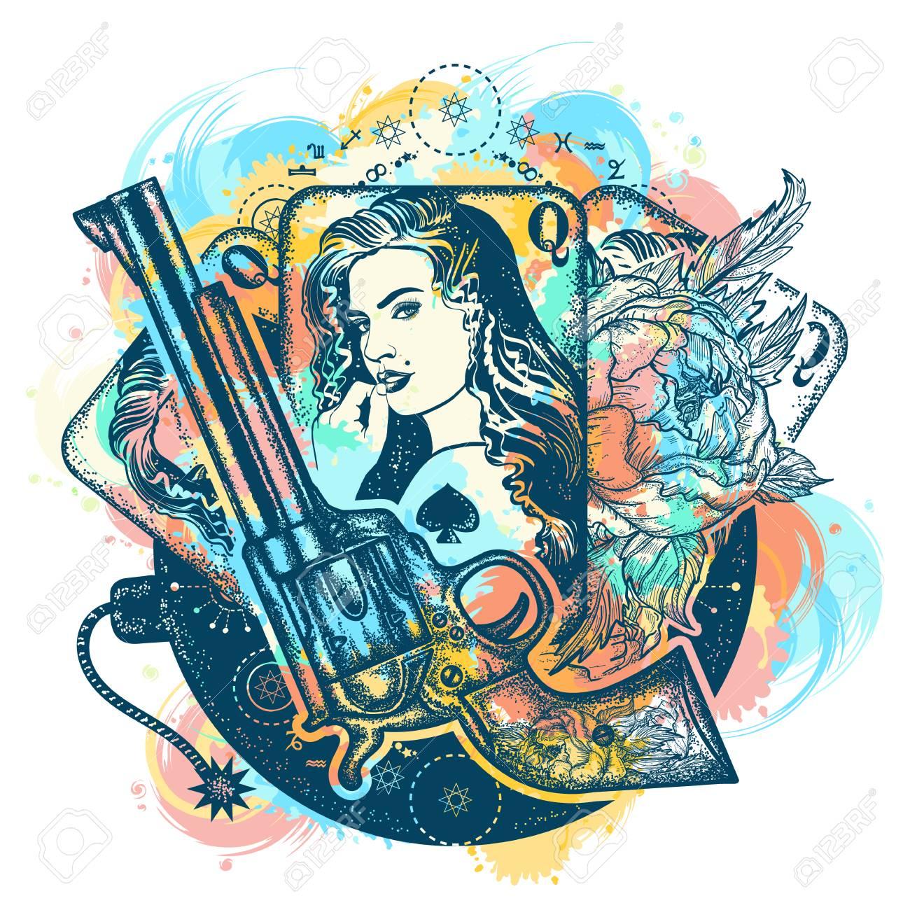 Revolver, playing cards, beautiful girl, bomb tattoo art. Casino, criminal background, gangster mafia. Vintage playing cards, roses, gun t-shirt design. Wild west tattoo and t-shirt design - 89056730