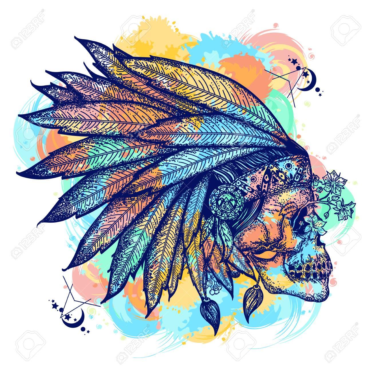 Art De Tatouage Couleur Crane Indien Guerrier Symbole Coiffure De Plumes Indiennes Amerindiennes Avec Un Design De T Shirt Crane Humain Couleur De L Eau De L Ouest Sauvage Eclabousse Le Tatouage Clip Art Libres