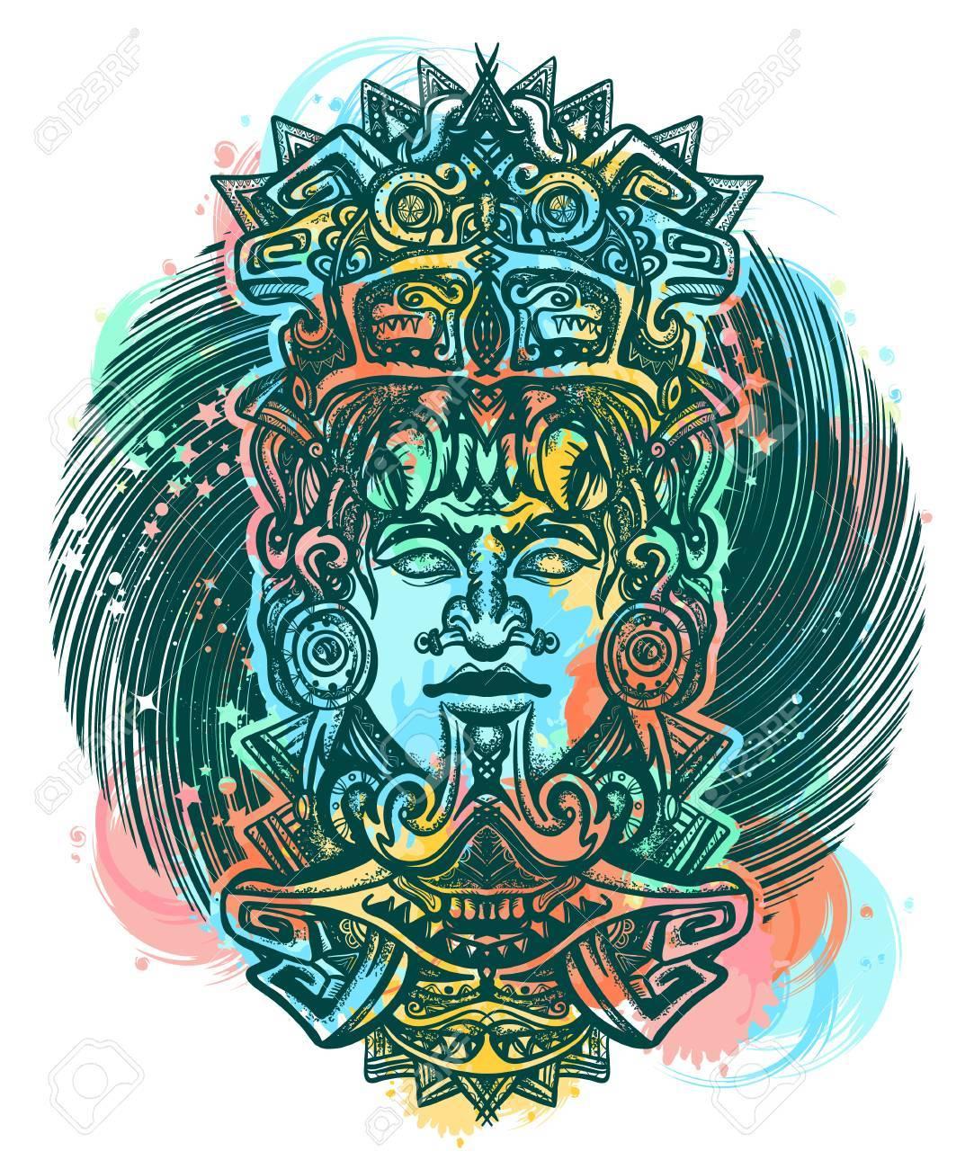 Diseño De Tatuaje Y Camiseta Maya En Color Tótem Azteca Antiguo