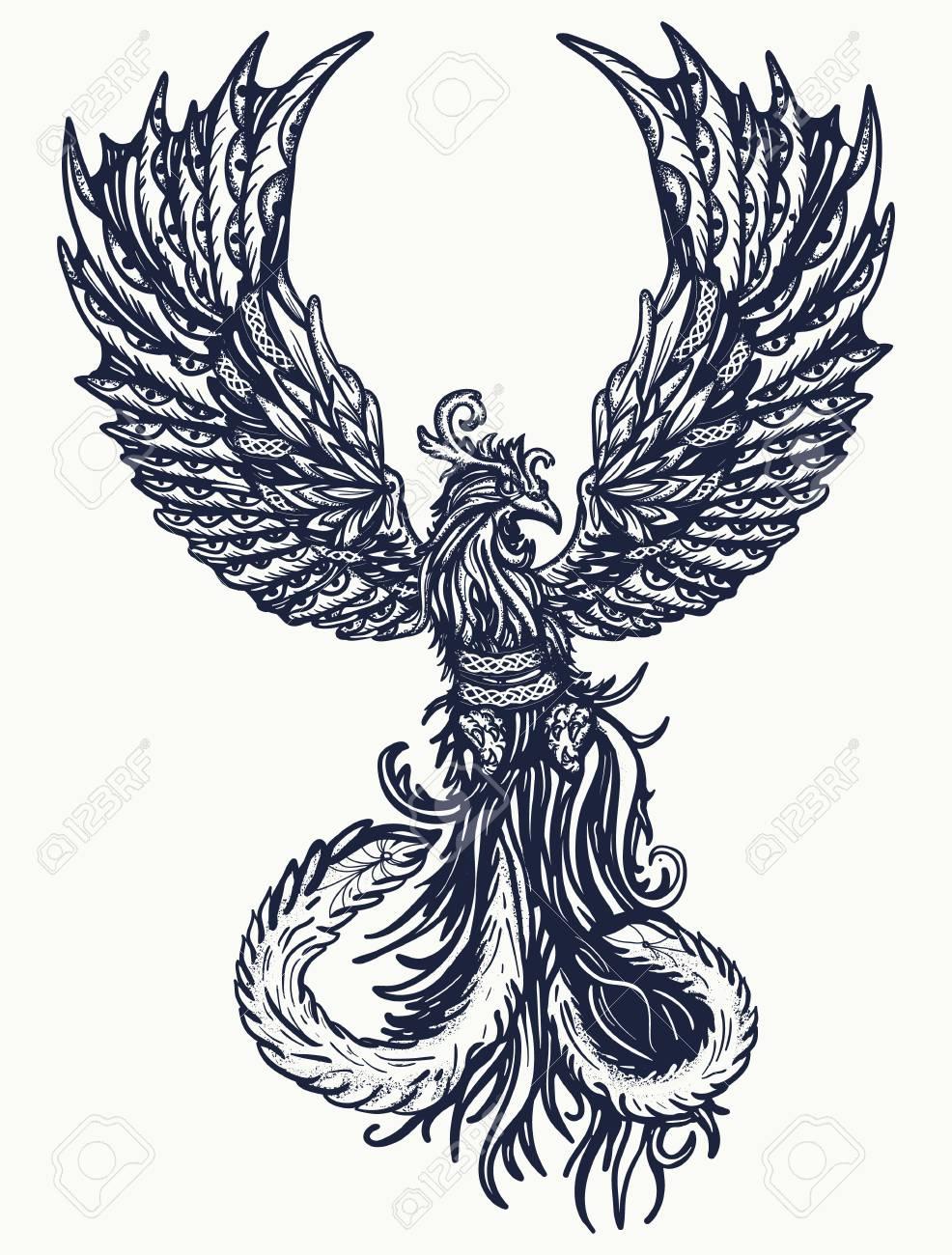 Diseño De Camiseta Y Tatuaje Magic Heat Birds Símbolo De
