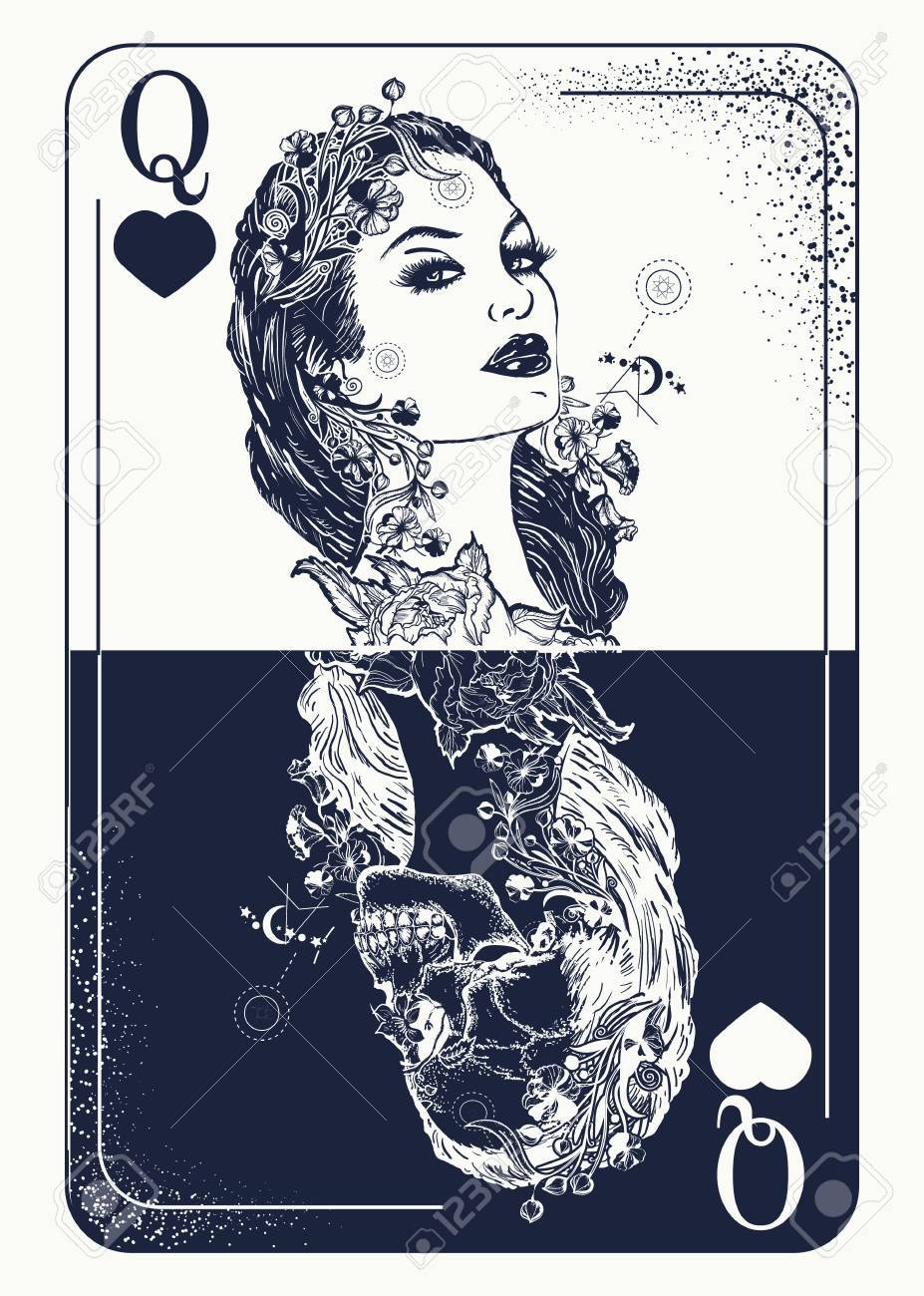 Queen Playing Card Tattoo And T Shirt Design Beautiful Girl Skeleton