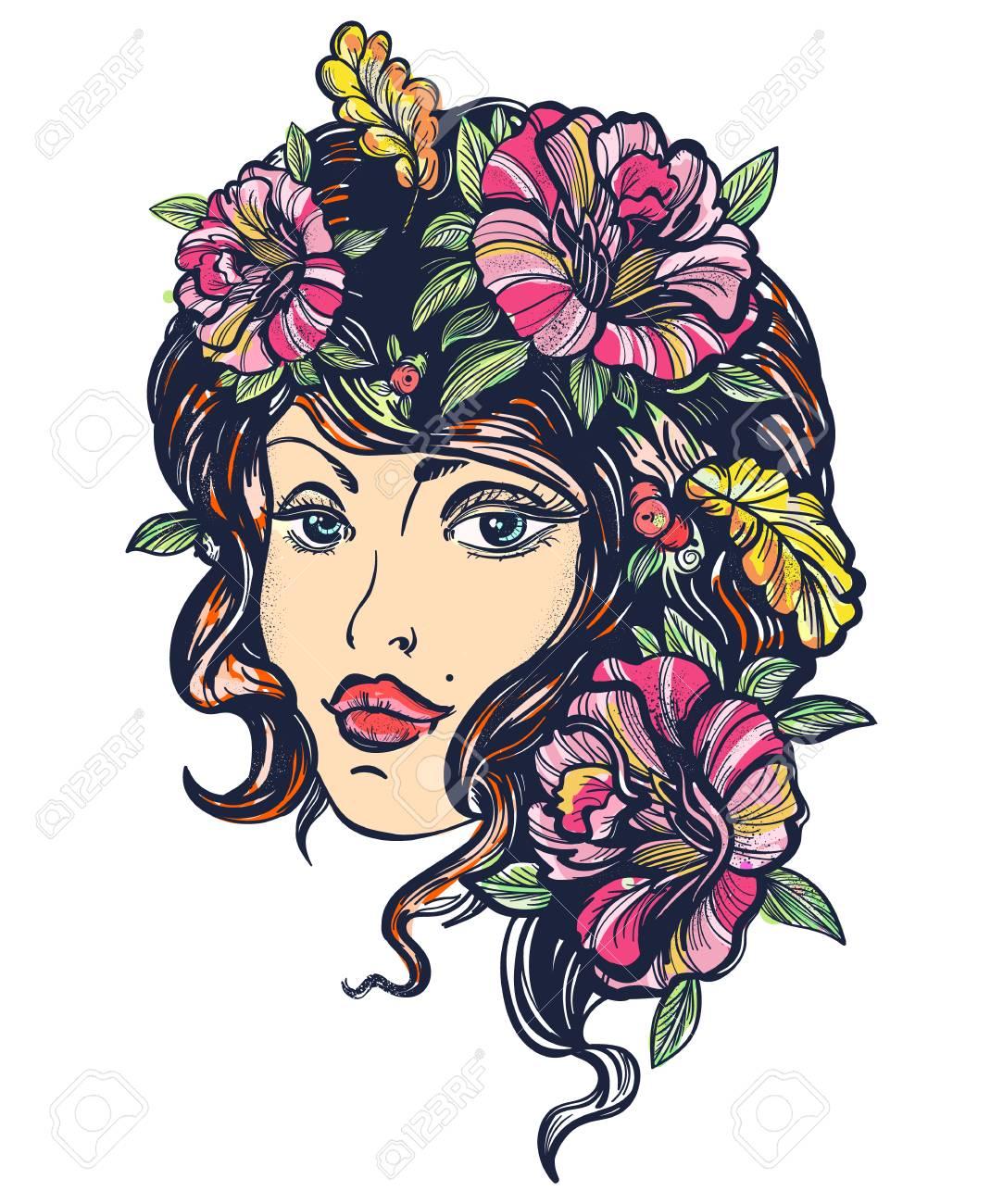 Automne Nature Femme Vieille Ecole Couleur Tatouage Conception De T