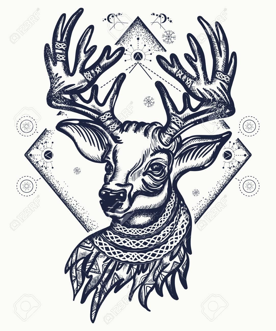 Deer Tattoo And T Shirt Design Christmas Reindeer Symbol Of