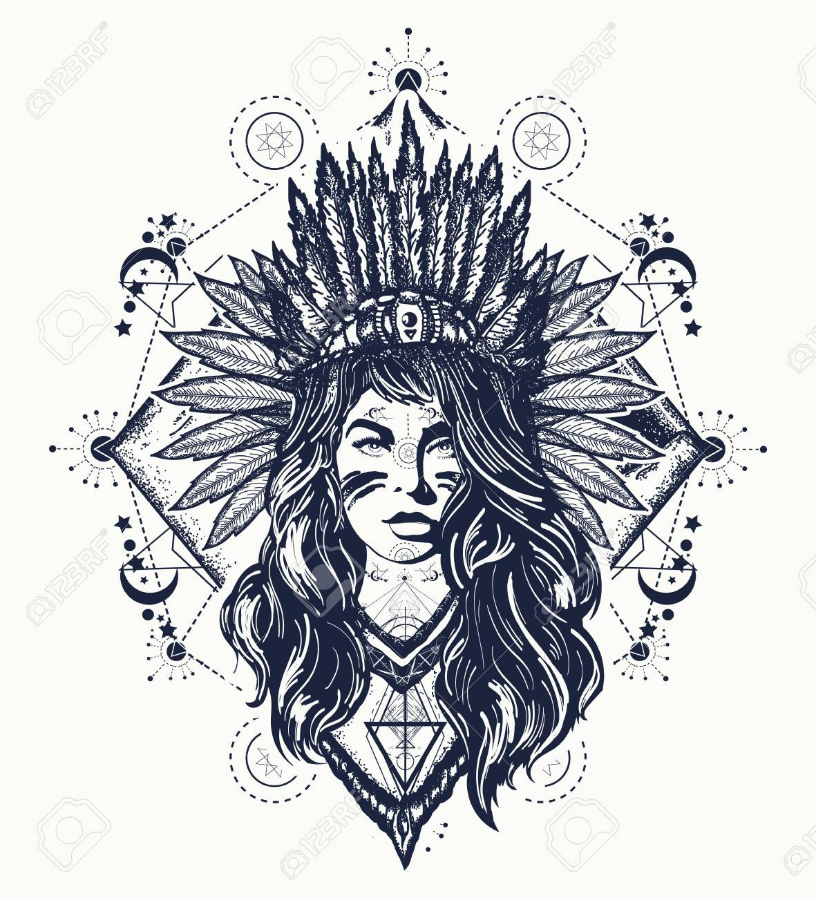Tribal Woman Tattoo And T Shirt Design Royalty Free Cliparts