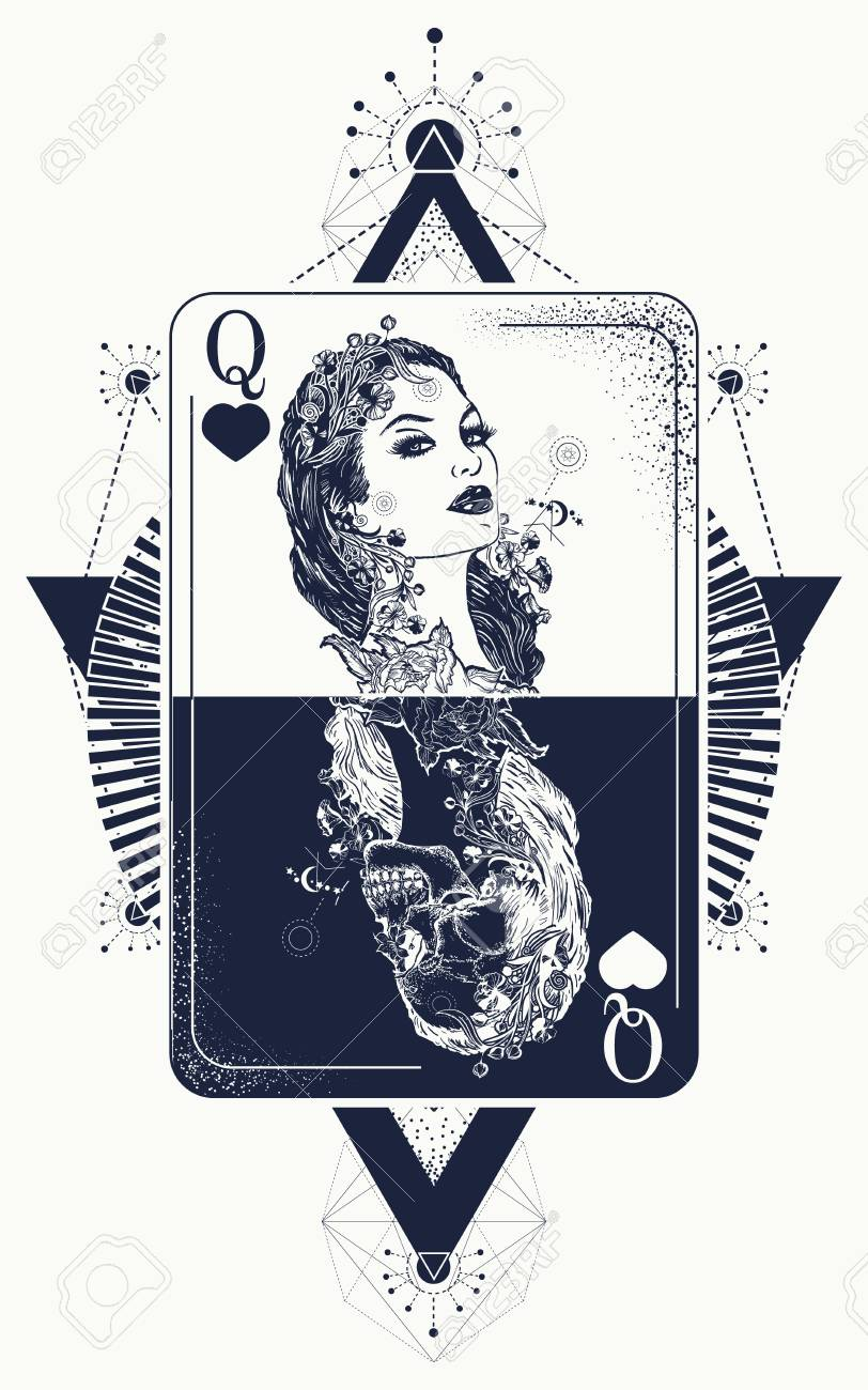 Queen In Card Tattoo And T Shirt Design Stock Vector