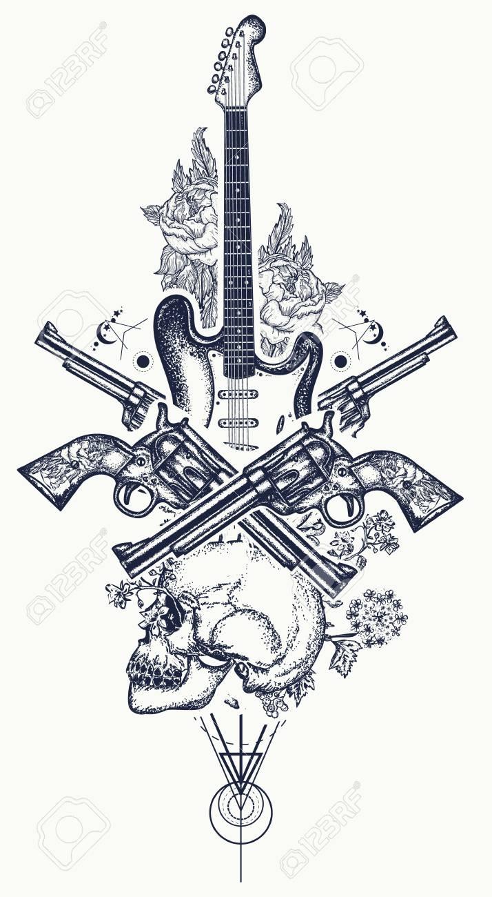 Crane Humain Et Guitare Electrique Revolver Roses Et Notes De