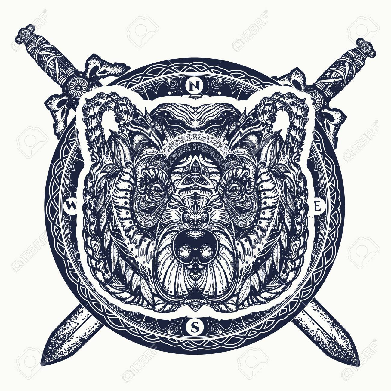 Bear and crossed swords tattoo and t-shirt design. Northern grizzly bear, symbol of force, wild nature, outdoors. - 90457137
