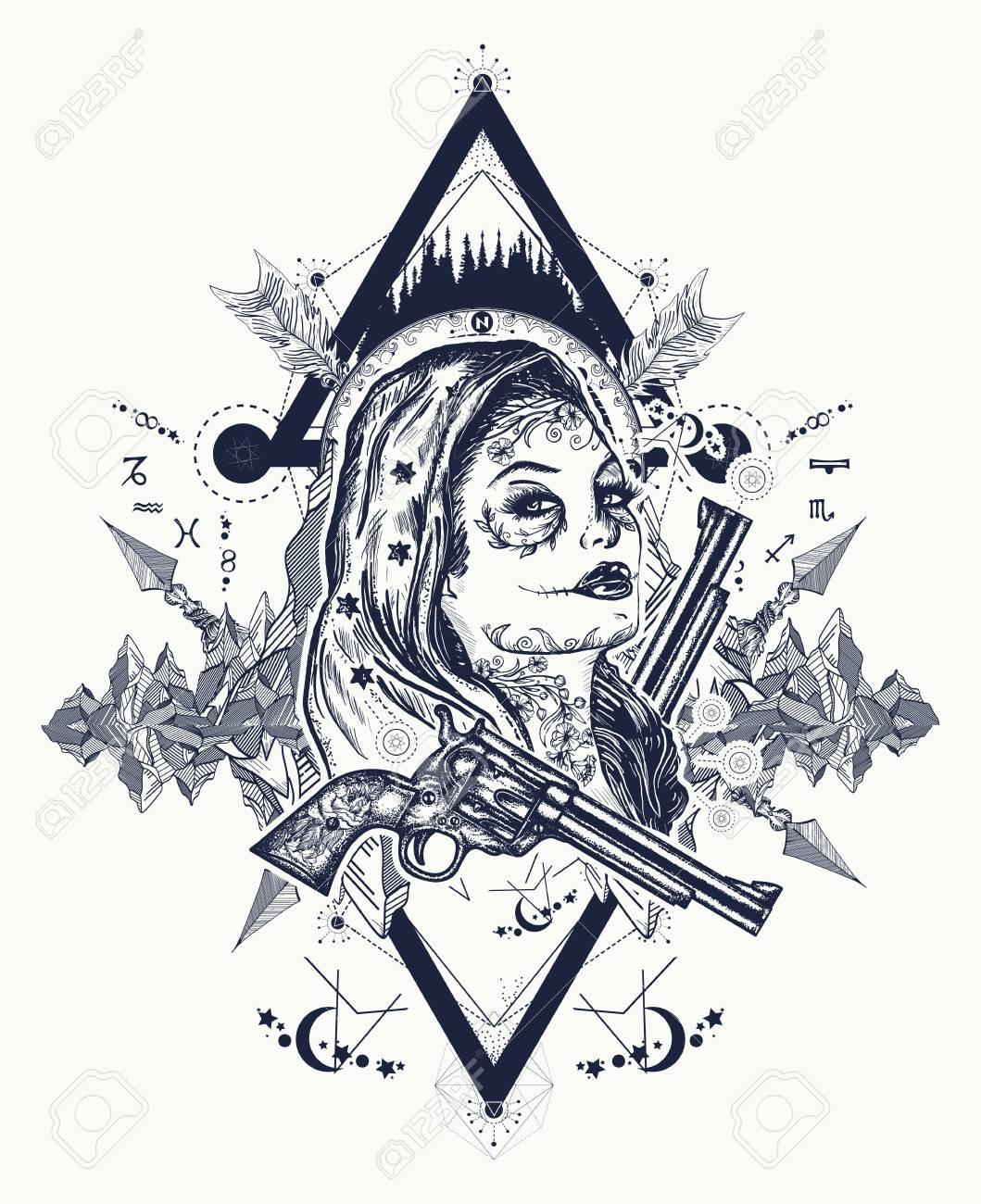 Diseño Mexicano Del Arte Y La Camiseta Del Tatuaje Criminal Tatuaje De Mujer Y Montañas Del Oeste Salvaje Chica Santa Muerte Cráneo Del Azúcar