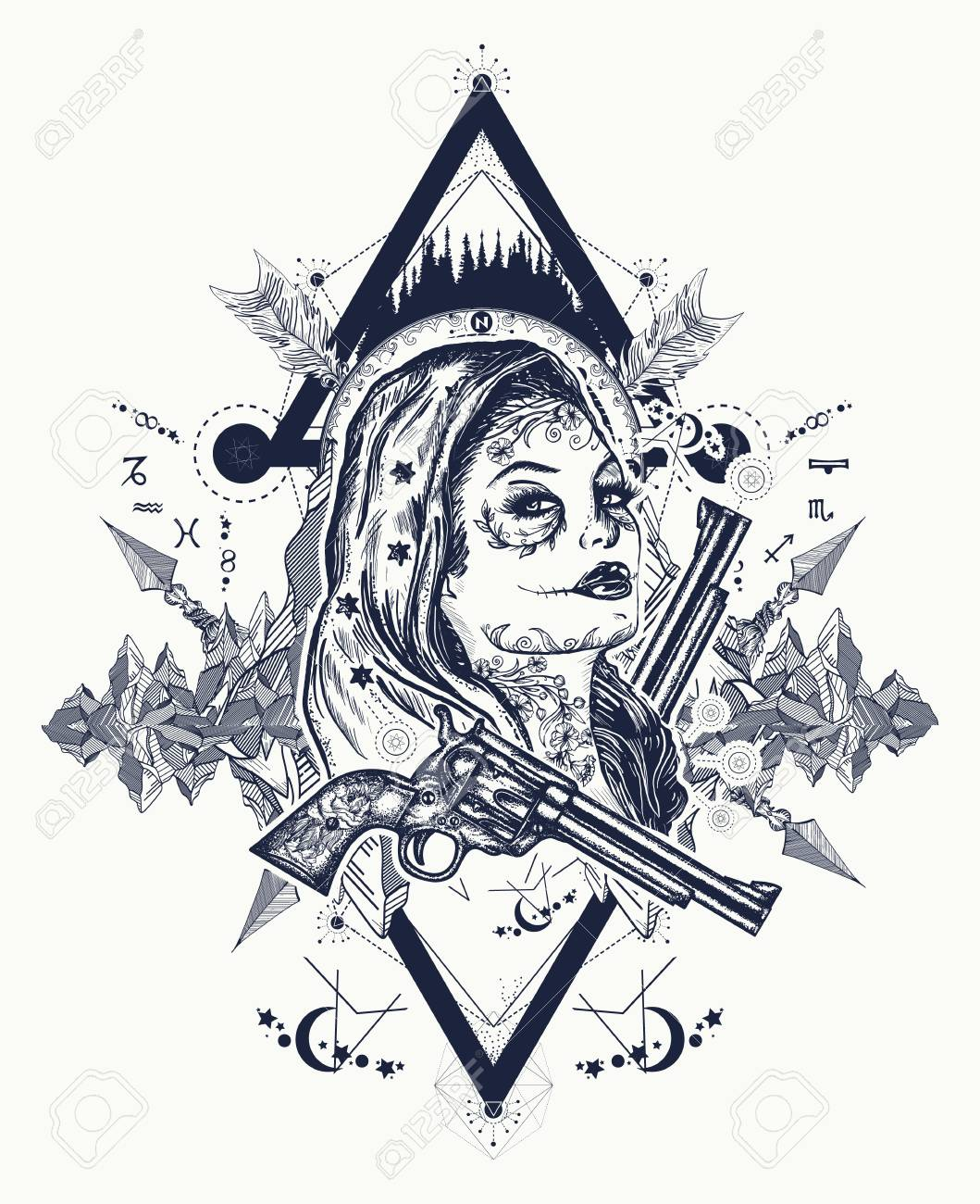 Mexican criminal tattoo art and t-shirt design  Wild west woman