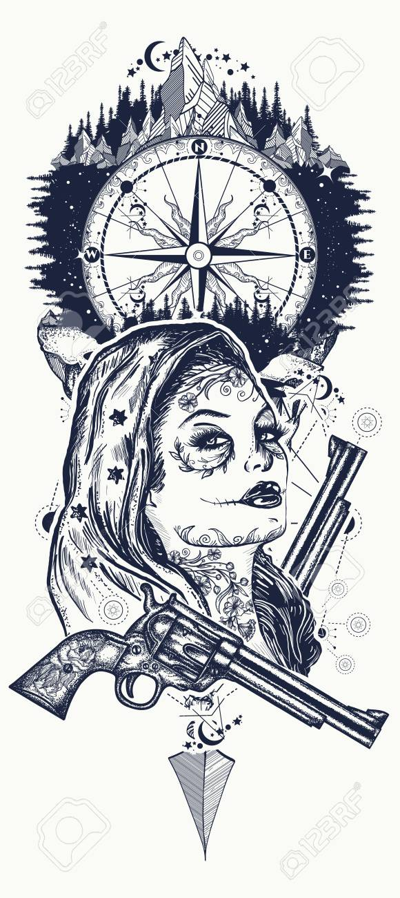 134f6b6d2 Mexican criminal tattoo art and t-shirt design. Wild west woman, compass and