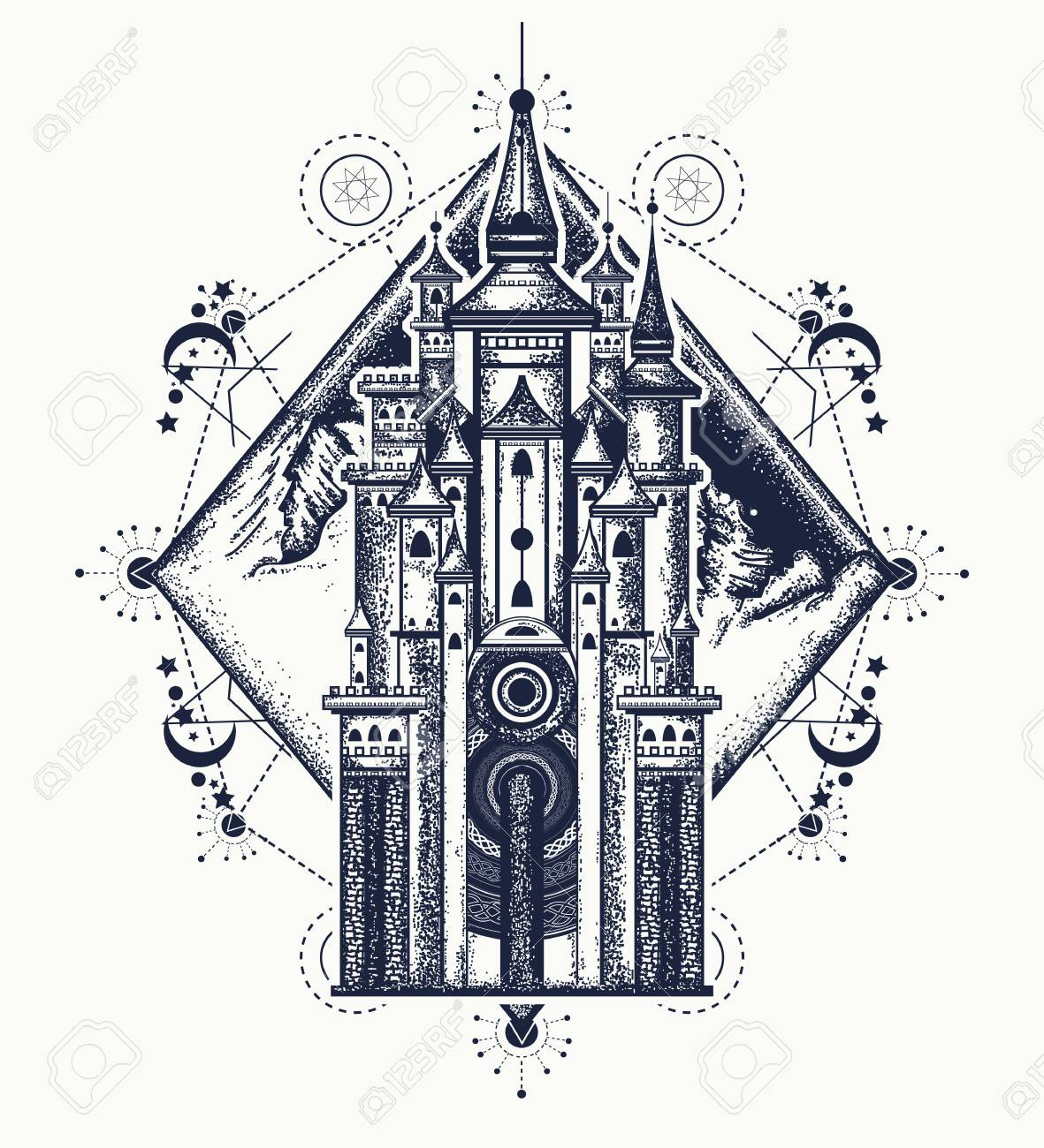 Medieval Castle And Mountains Tattoo Art Symbol Of The Fairy